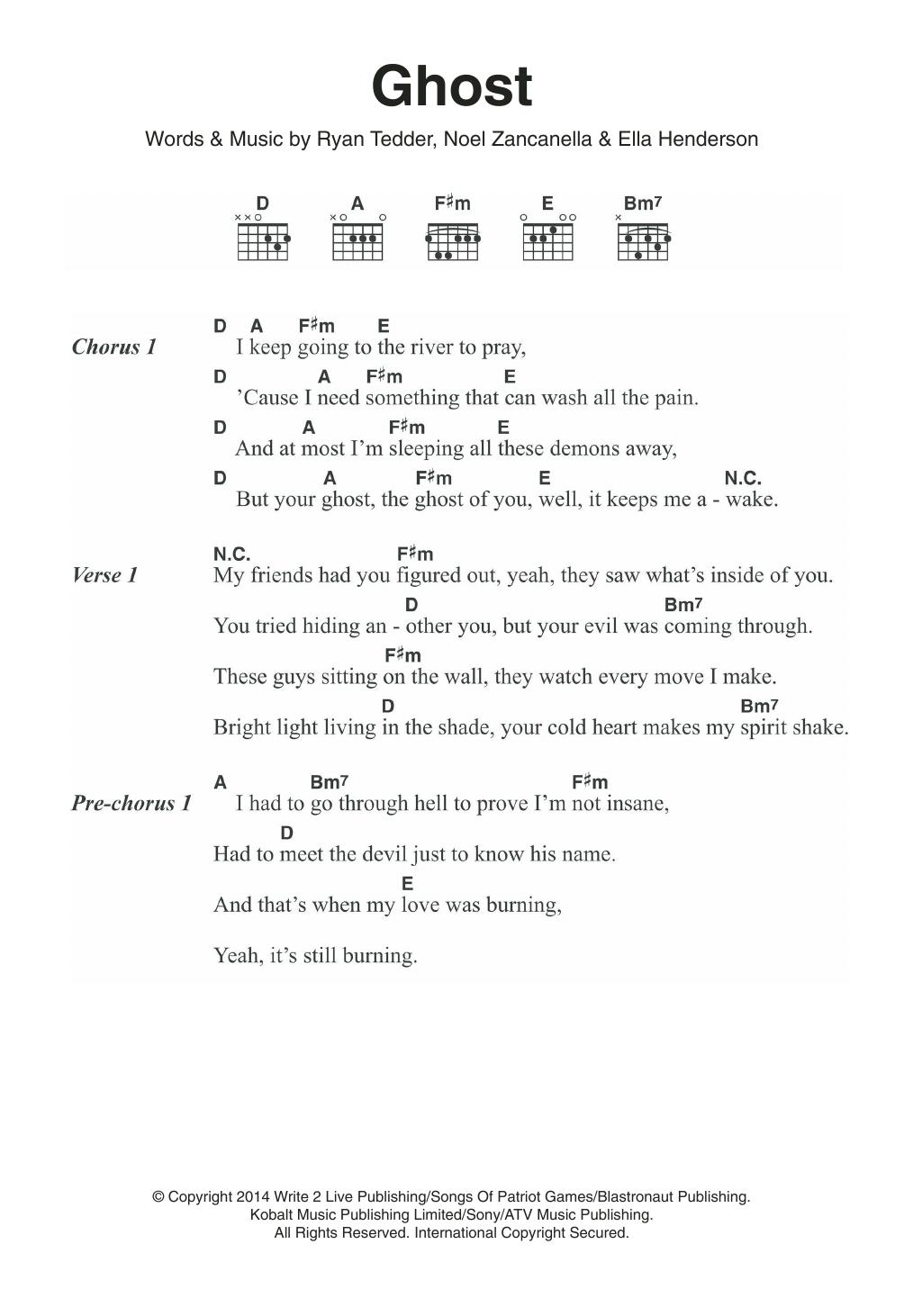Ghost Sheet Music | Ella Henderson | Guitar Chords/Lyrics