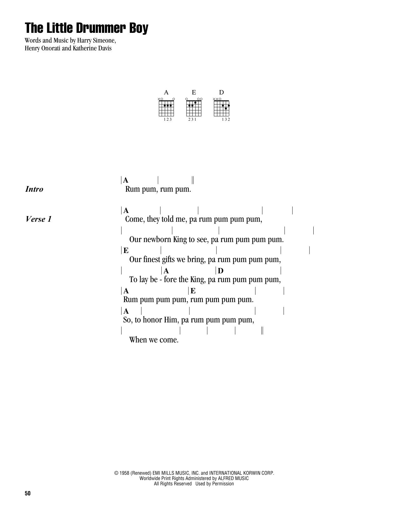 The Little Drummer Boy (Guitar Chords/Lyrics)
