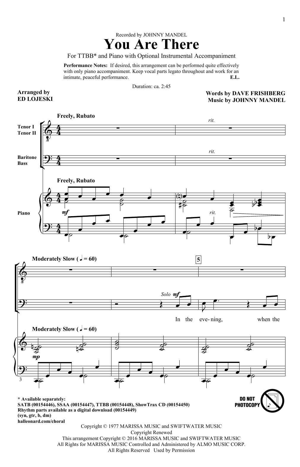 You Are There Sheet Music