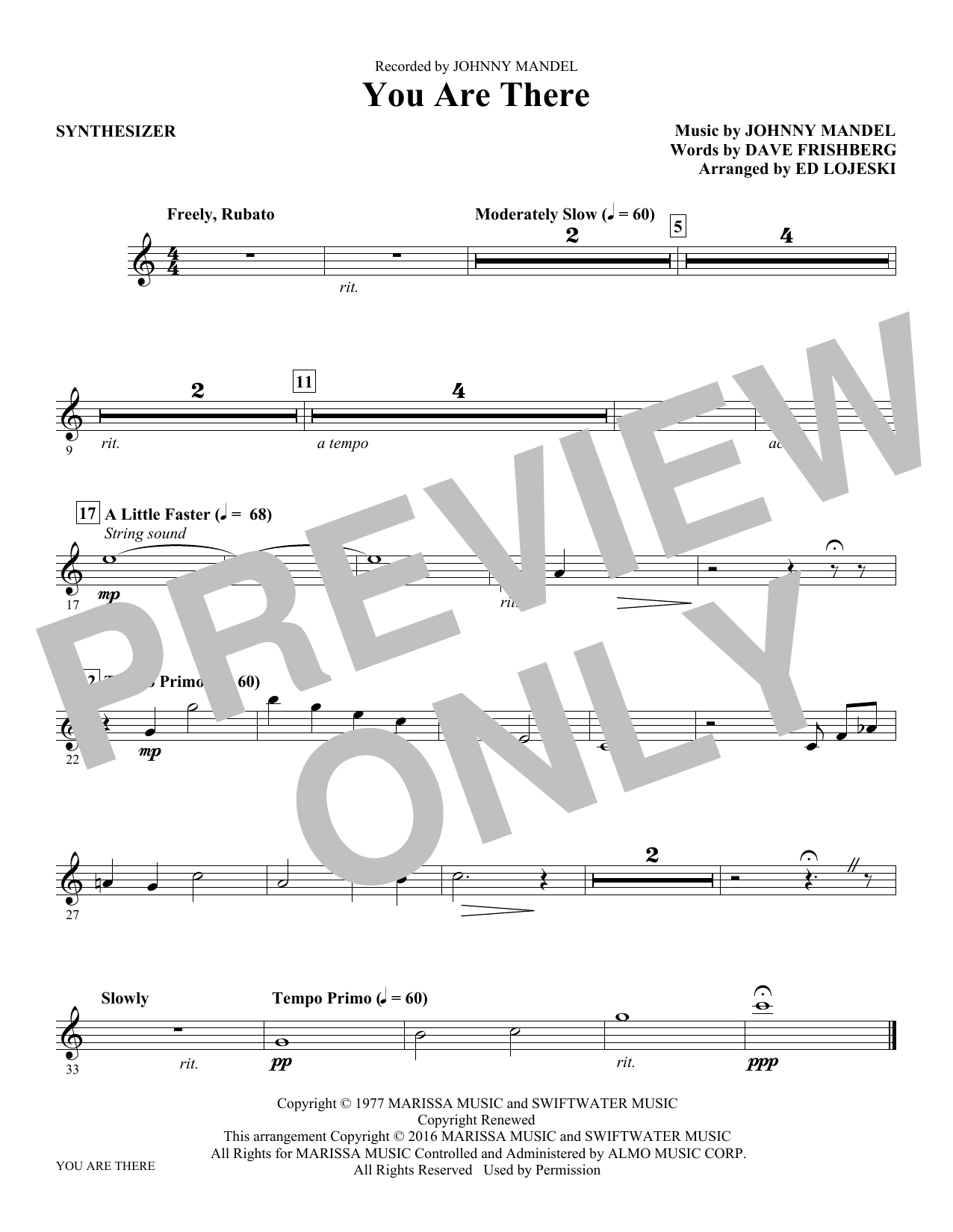 You Are There (complete set of parts) sheet music for orchestra/band by Michael Feinstein, Dave Frishberg, Ed Lojeski and Johnny Mandel. Score Image Preview.