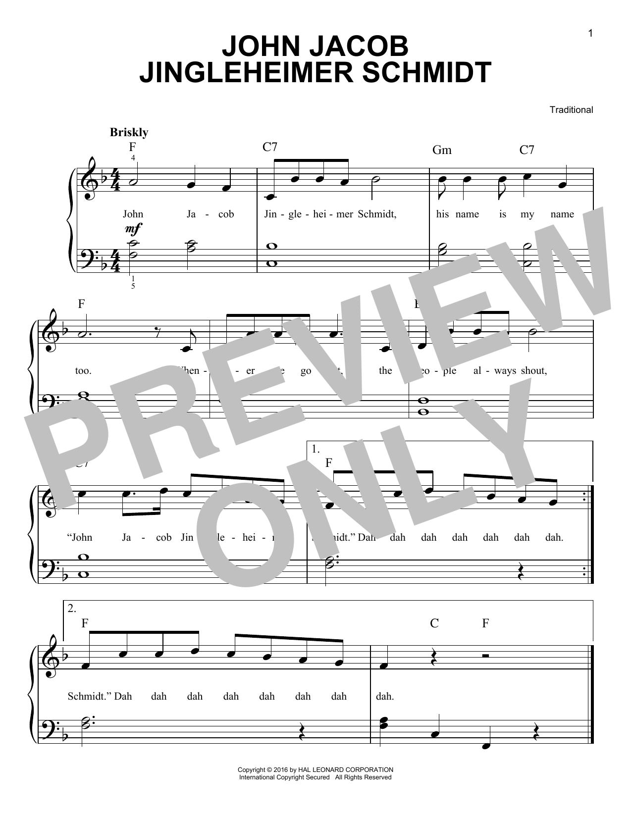 John Jacob Jingleheimer Schmidt (Easy Piano)