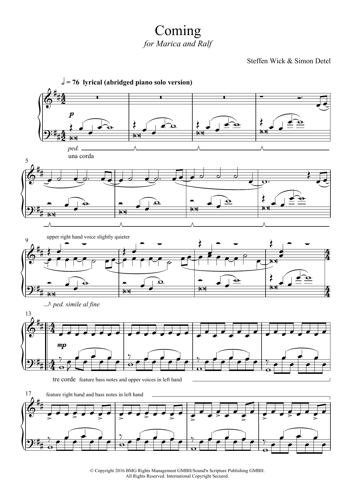 Coming Sheet Music