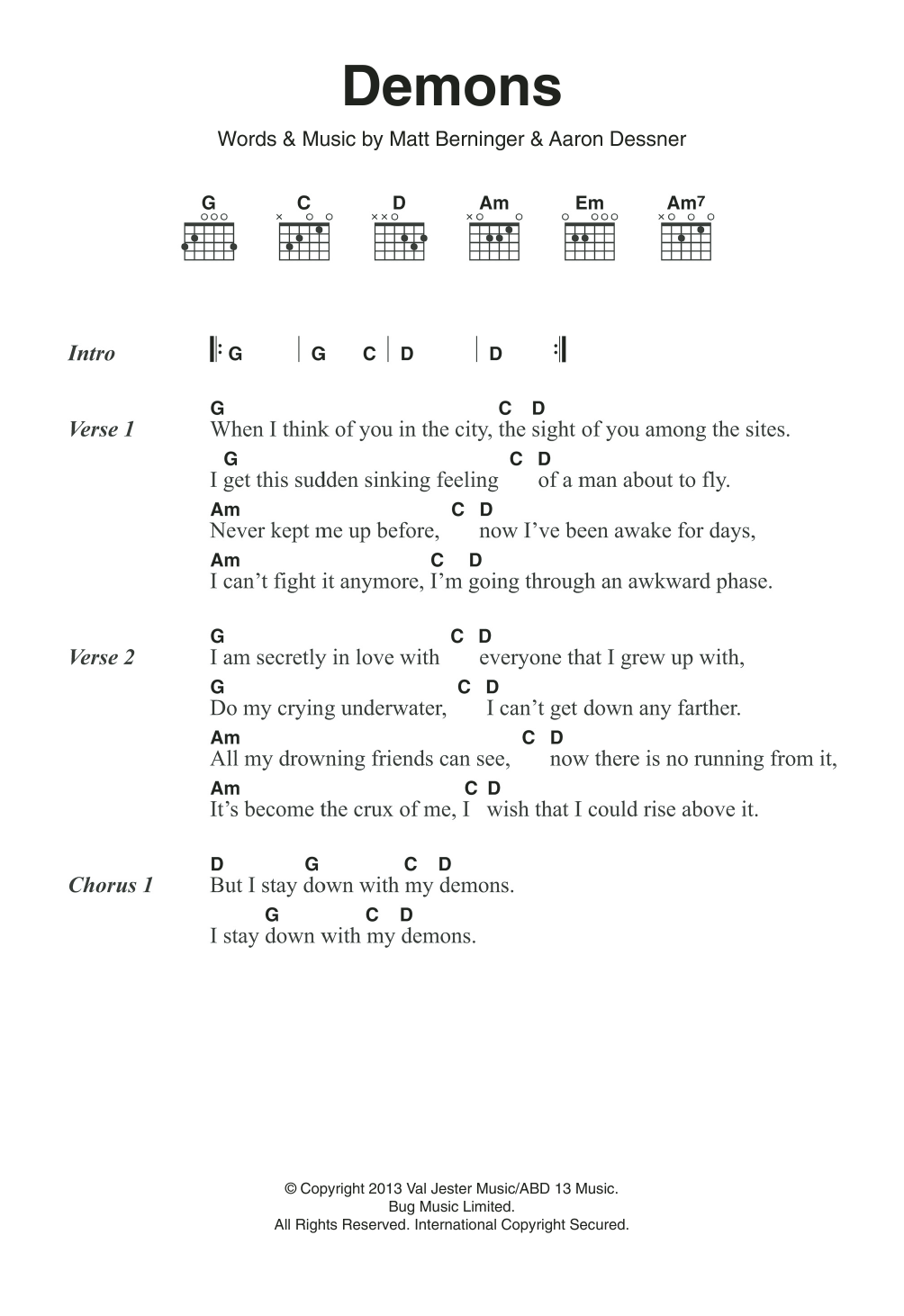 Demons Sheet Music The National Lyrics Chords