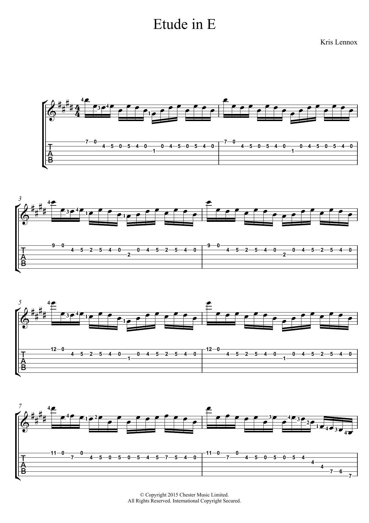Etude In E Sheet Music