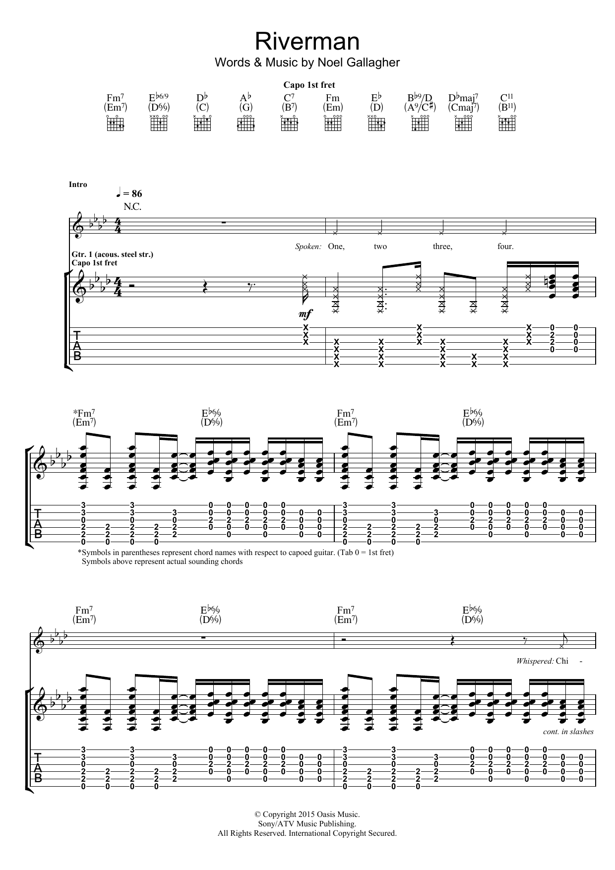 Riverman Sheet Music