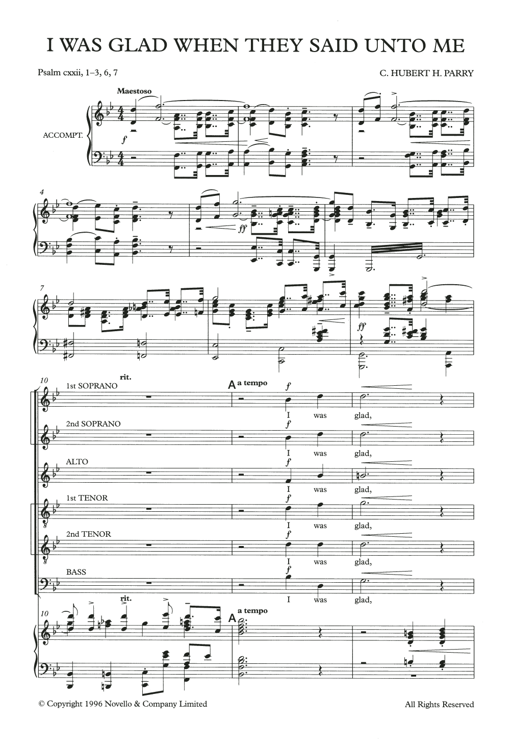 I Was Glad When They Said Unto Me Sheet Music