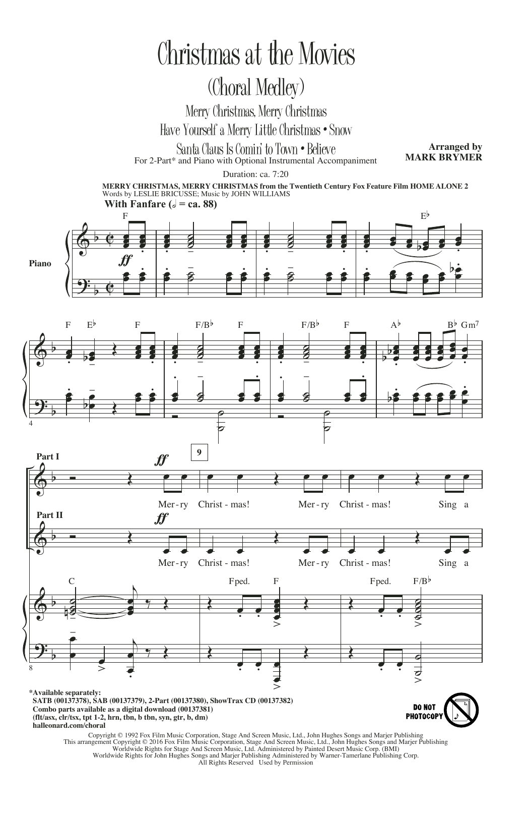 Christmas At The Movies (Choral Medley) atStanton's Sheet Music