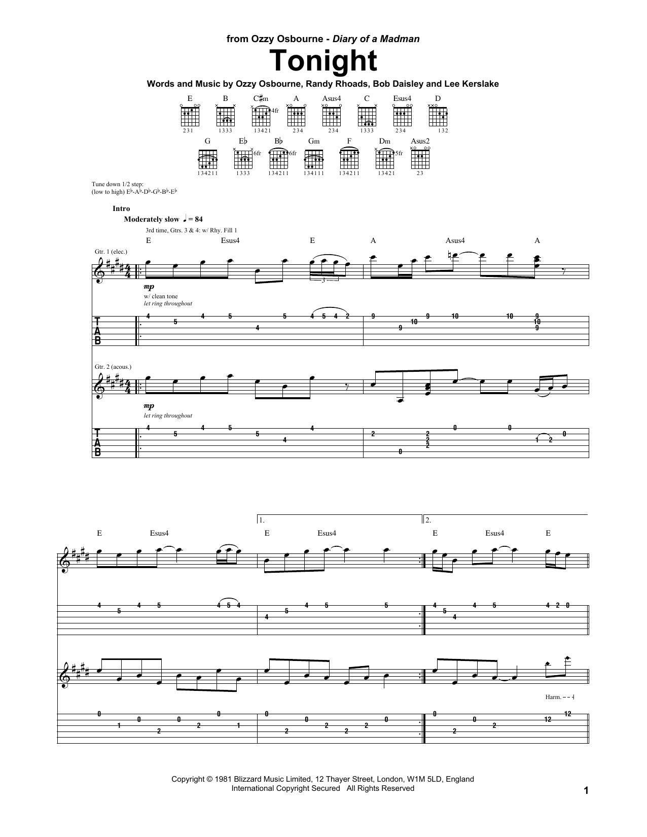 Tablature guitare Tonight de Ozzy Osbourne - Tablature Guitare