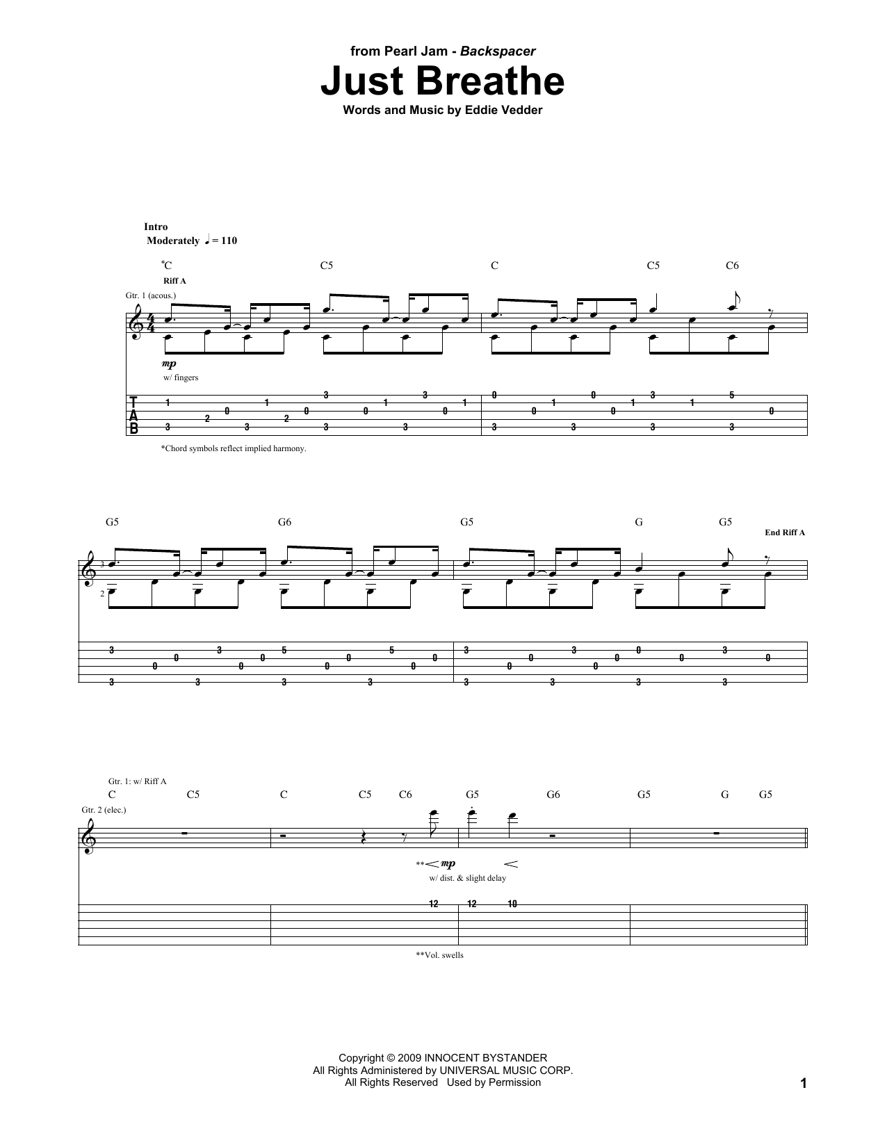 Tablature guitare Just Breathe de Pearl Jam - Tablature Guitare