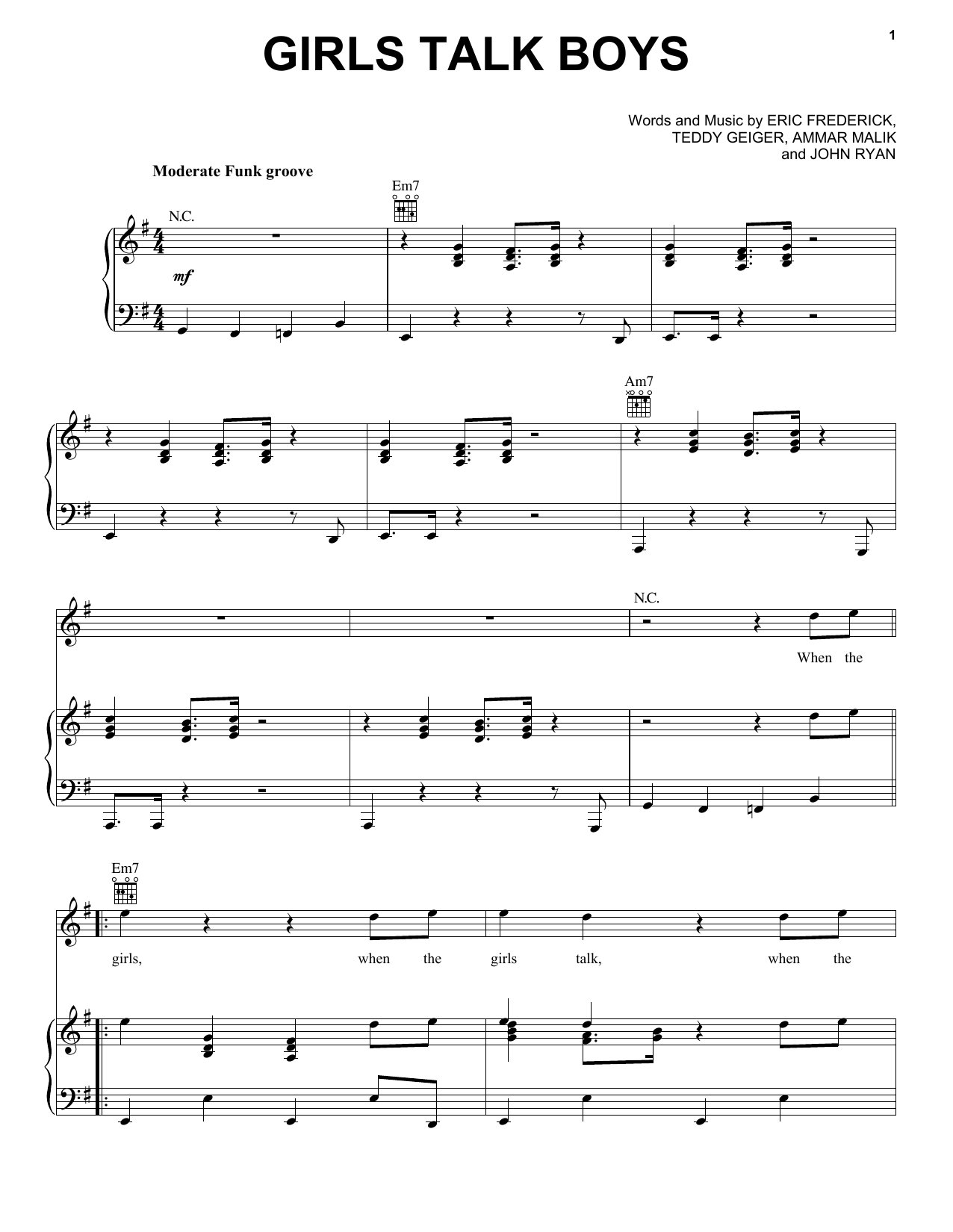Girls Talk Boys (Piano, Vocal & Guitar (Right-Hand Melody))