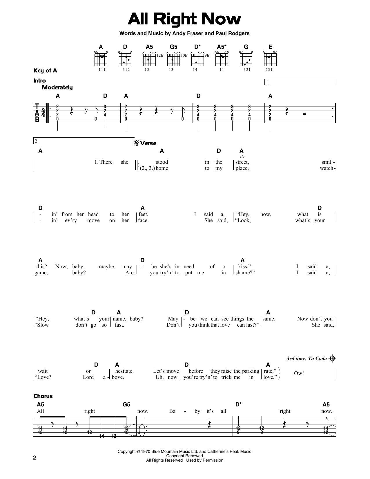 All Right Now (Guitar Lead Sheet)