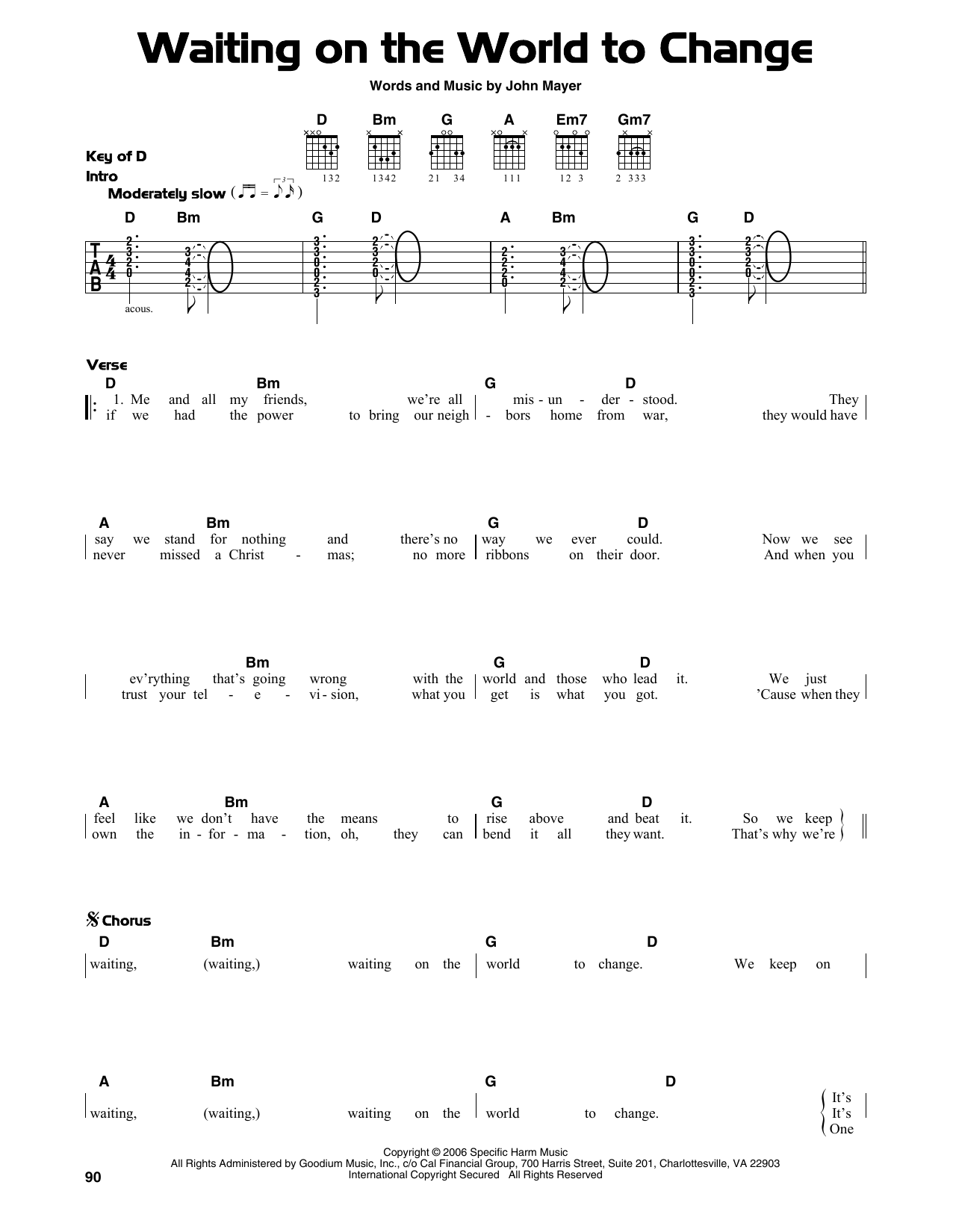 Waiting On The World To Change (Guitar Lead Sheet)