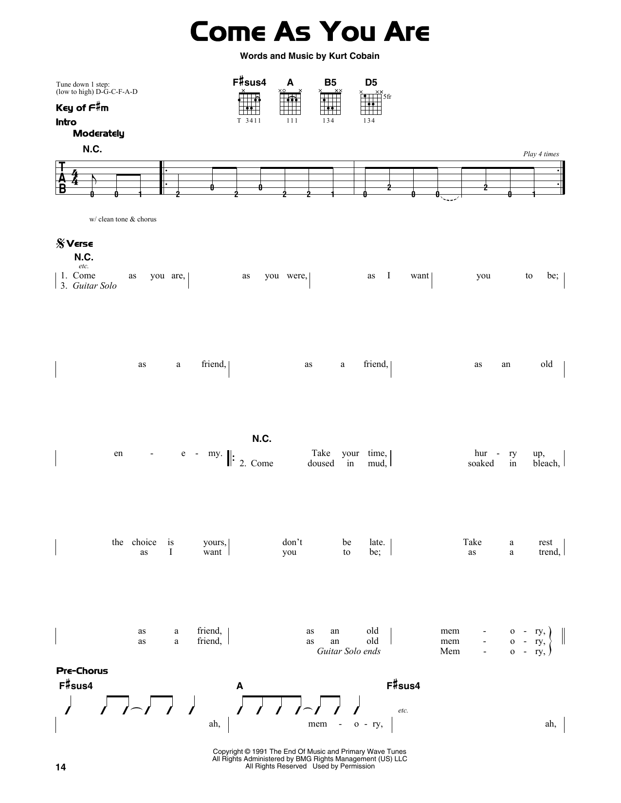 Come As You Are (Guitar Lead Sheet)