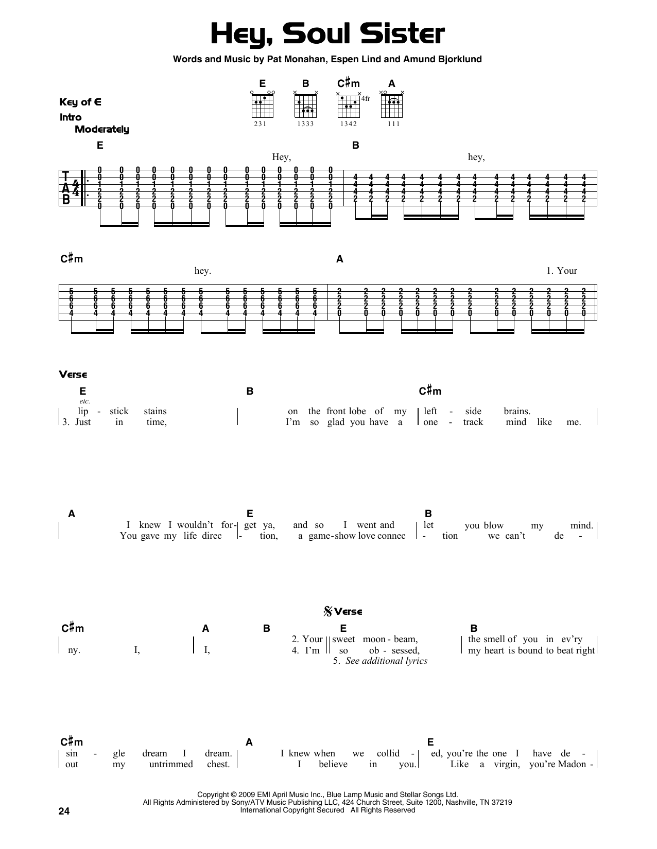 Hey, Soul Sister (Guitar Lead Sheet)
