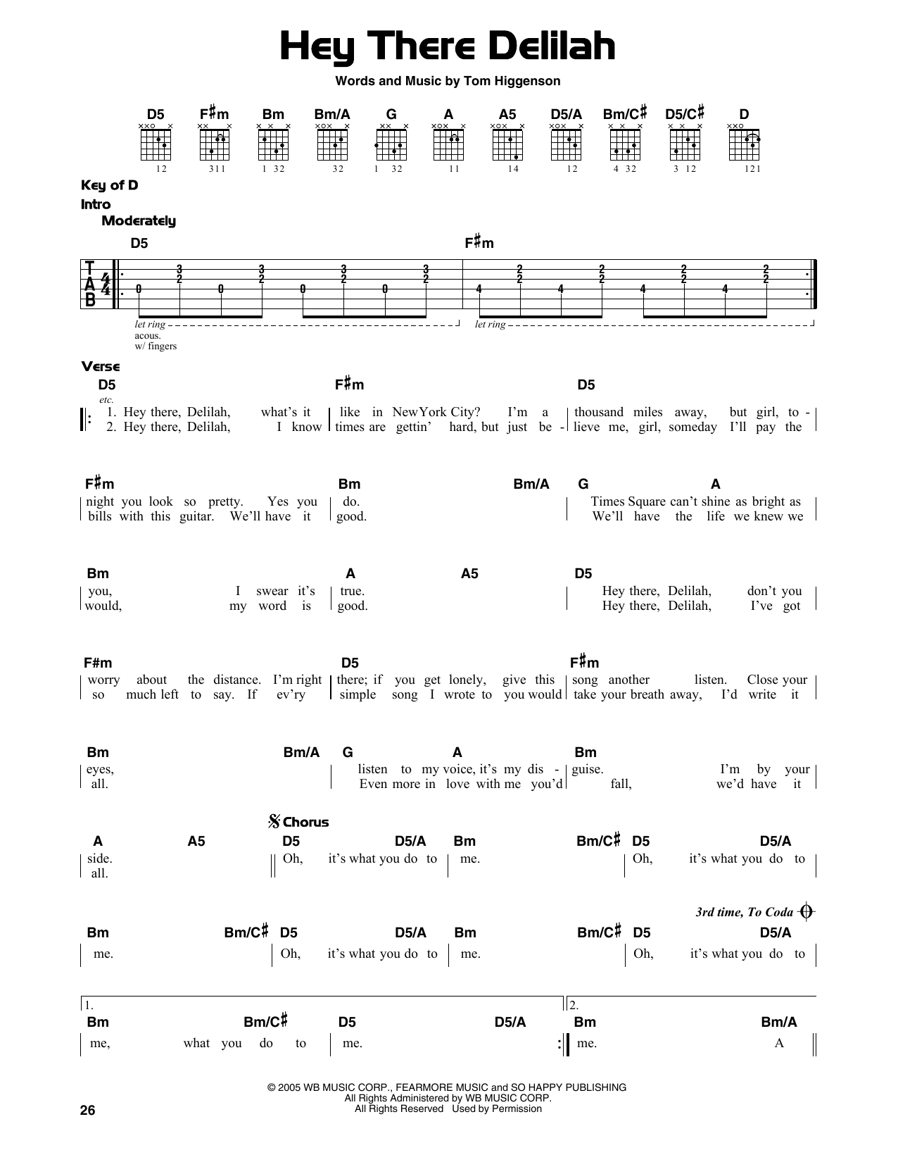Hey There Delilah (Guitar Lead Sheet)