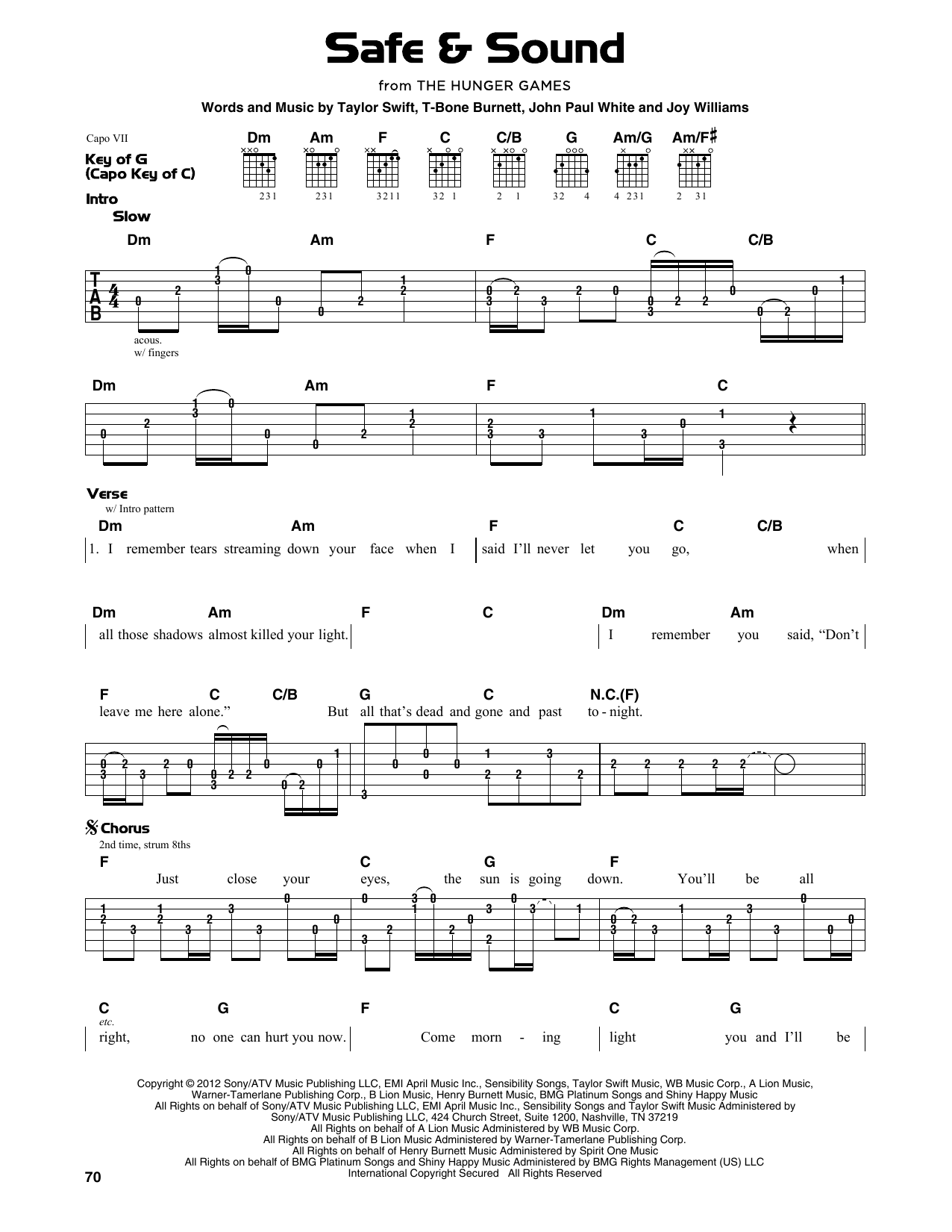 Safe & Sound (feat. The Civil Wars) (from The Hunger Games) (Guitar Lead Sheet)