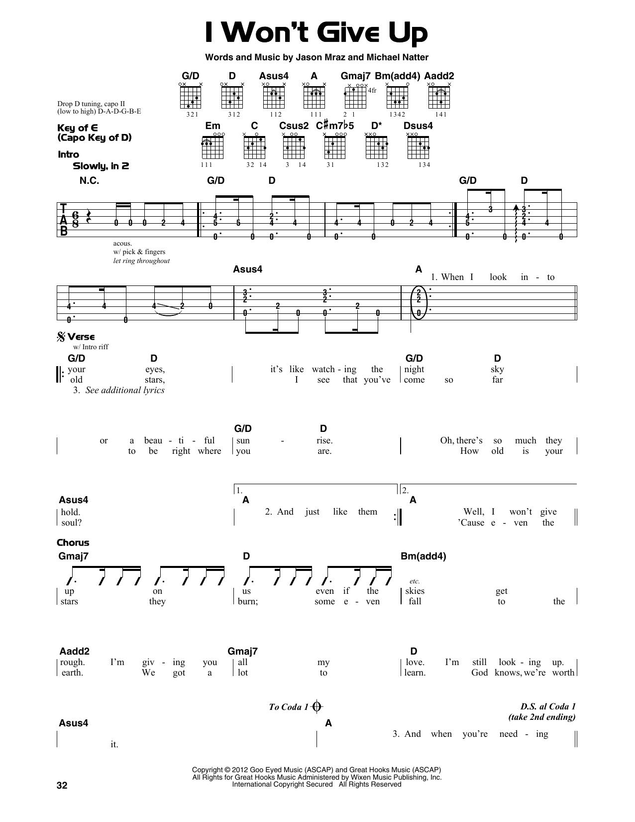 I Won't Give Up Noten   Jason Mraz   Gitarren Leadsheet