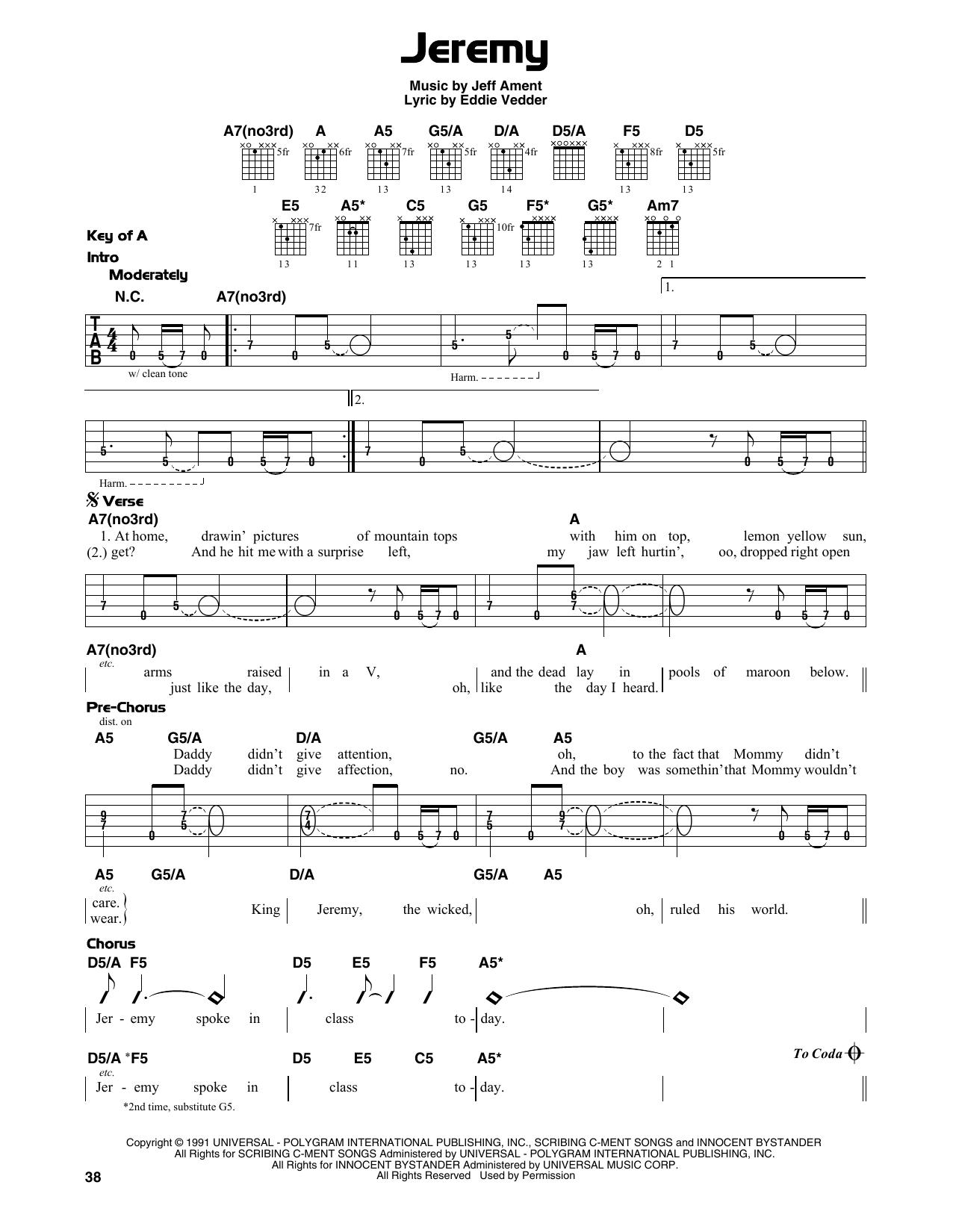 Jeremy (Guitar Lead Sheet)