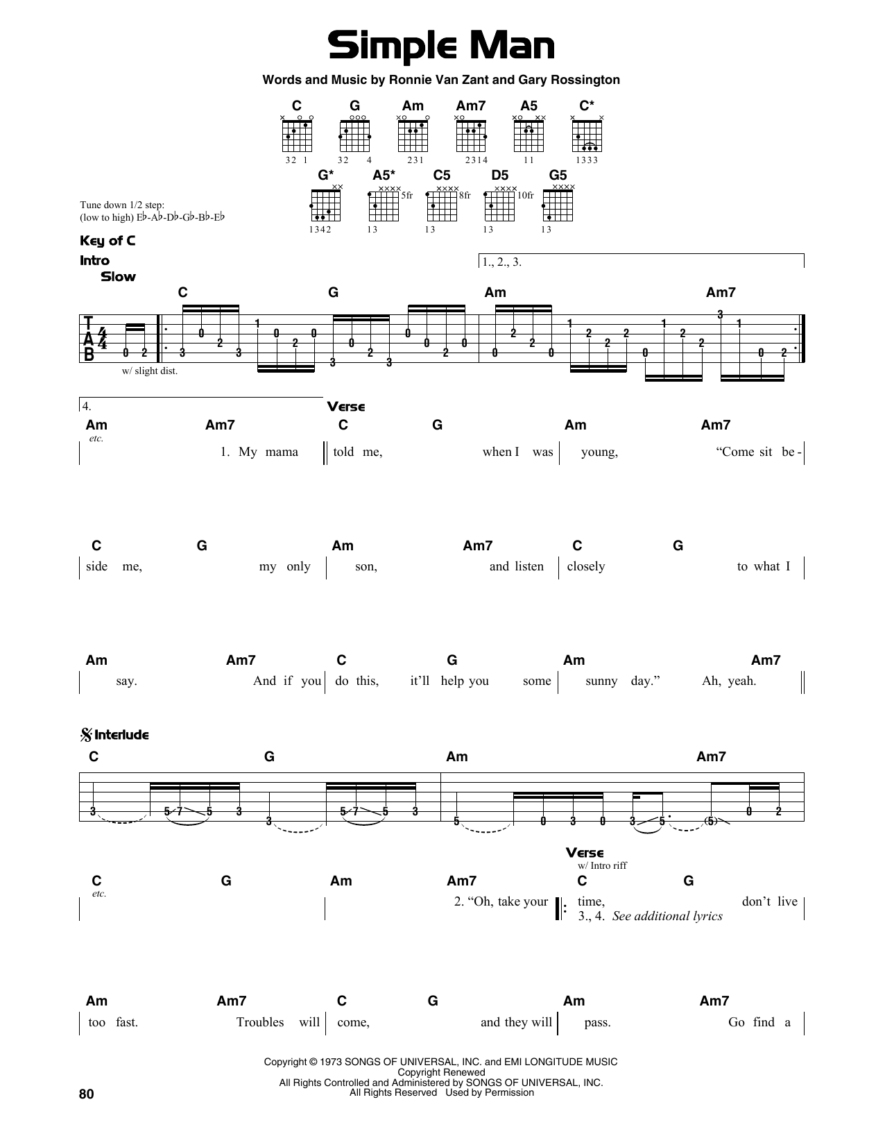 Simple Man Sheet Music