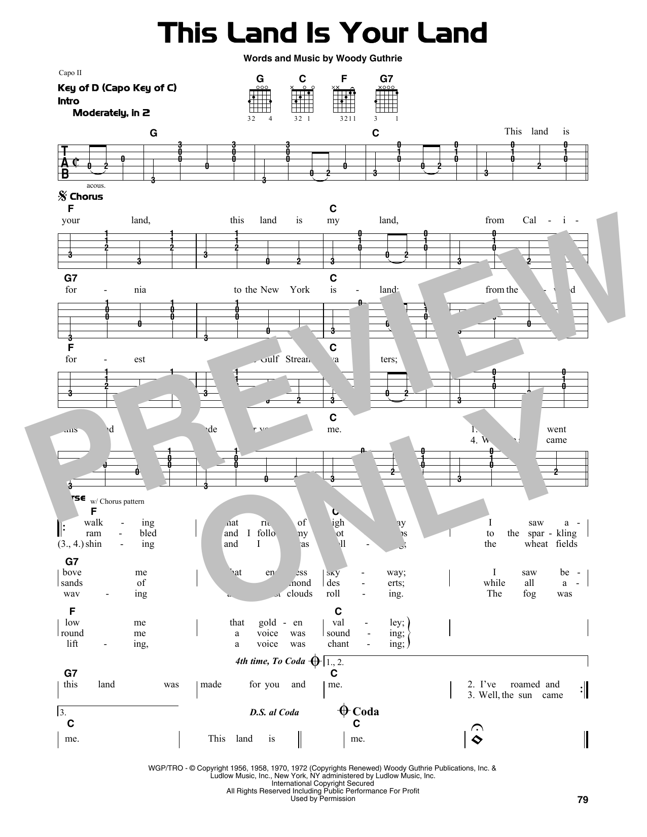 This Land Is Your Land Sheet Music By Woody Guthrie Guitar Lead
