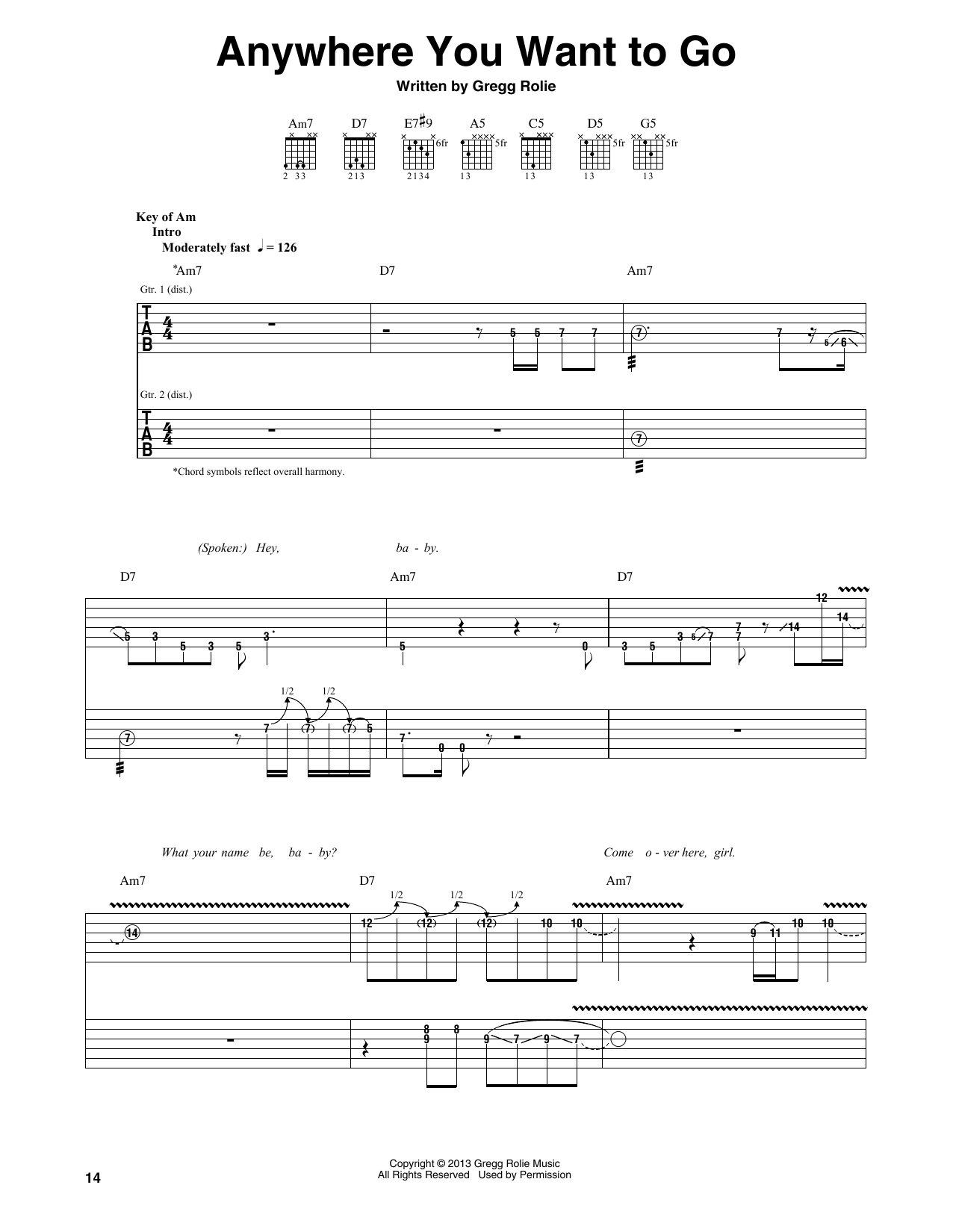 Anywhere You Want To Go Sheet Music