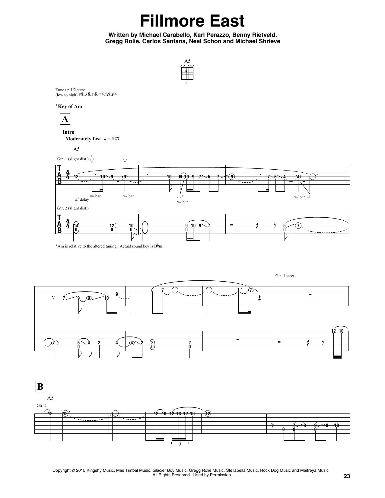Fillmore East Sheet Music