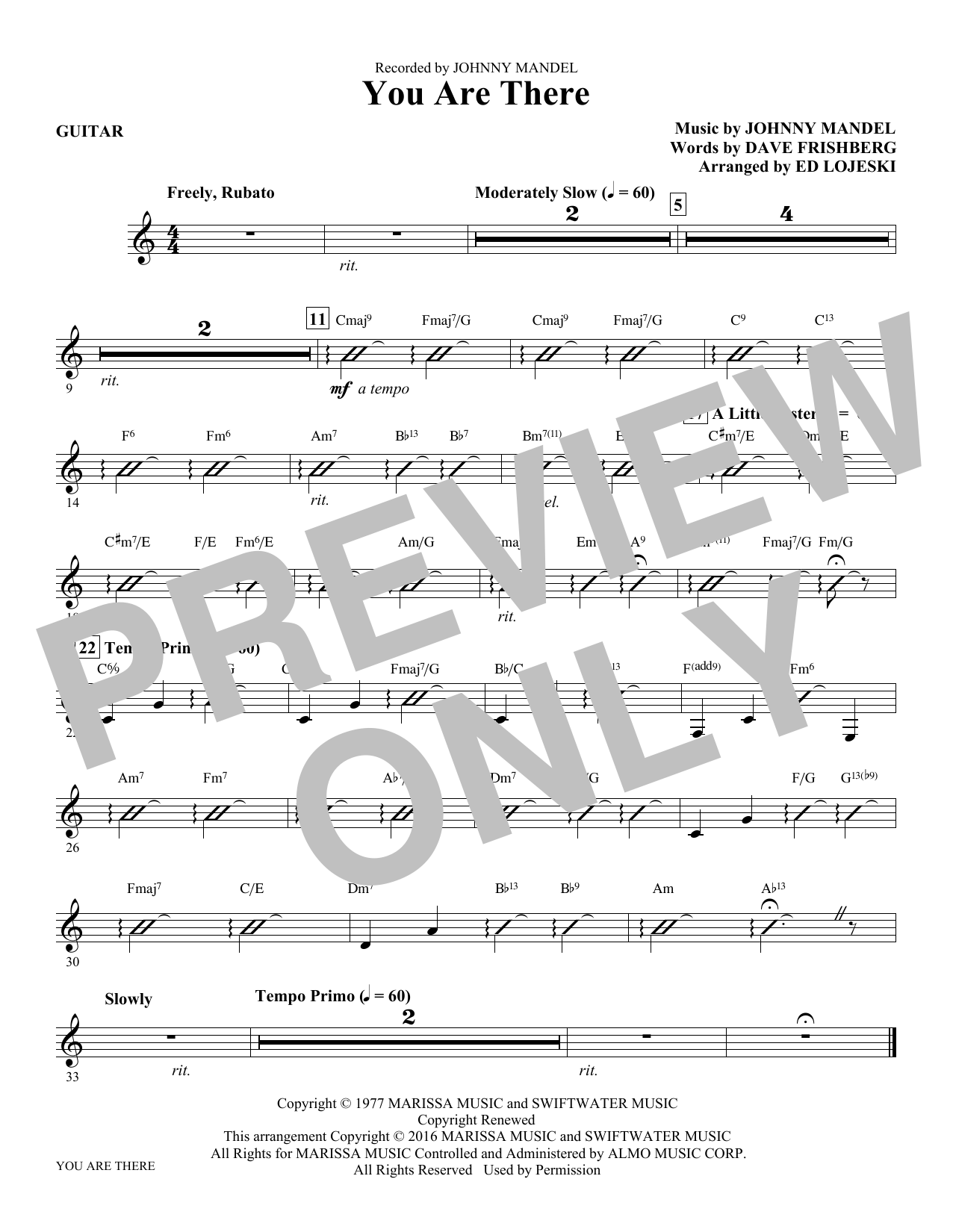 You Are There - Guitar Sheet Music