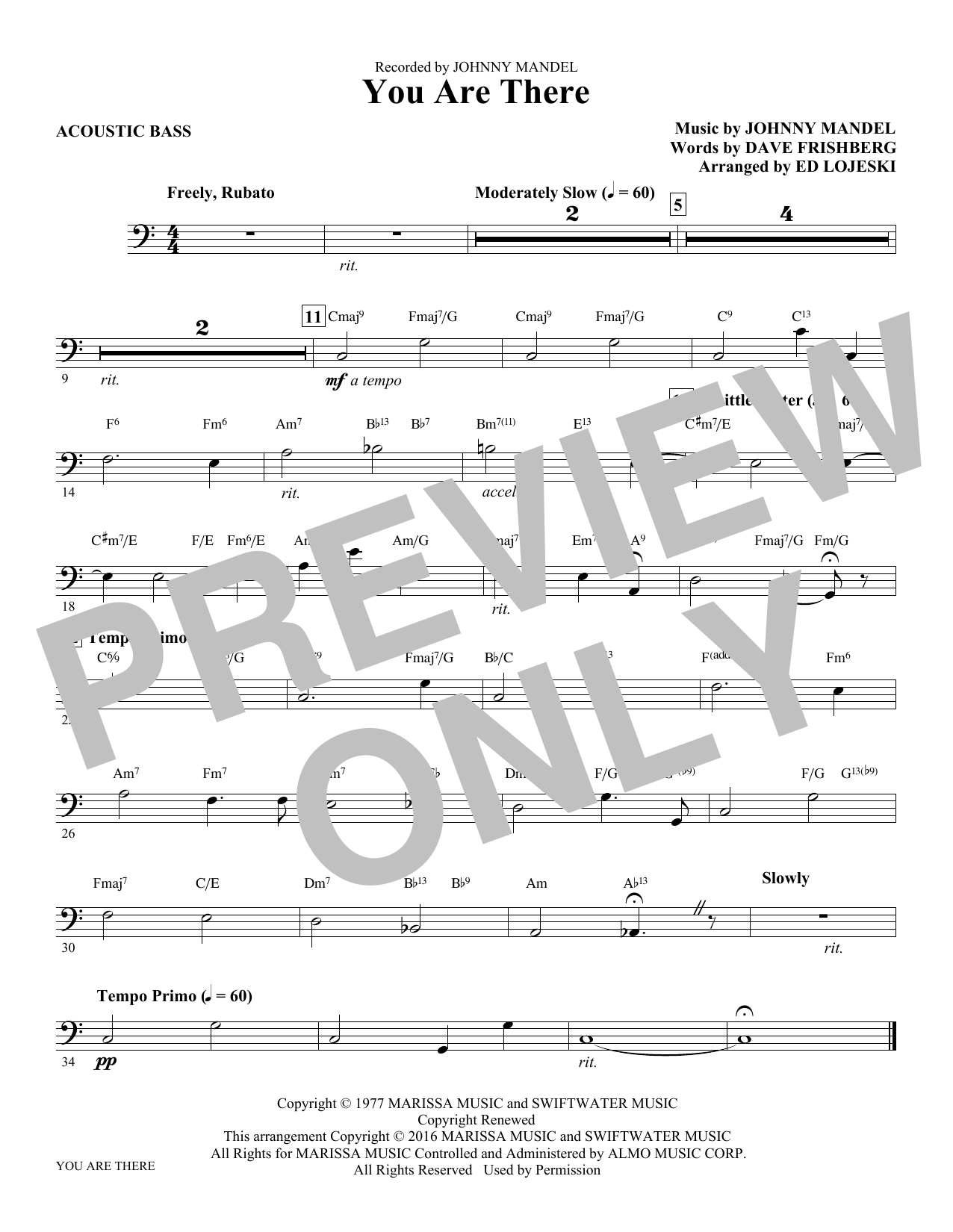 You Are There - Bass (Choir Instrumental Pak)
