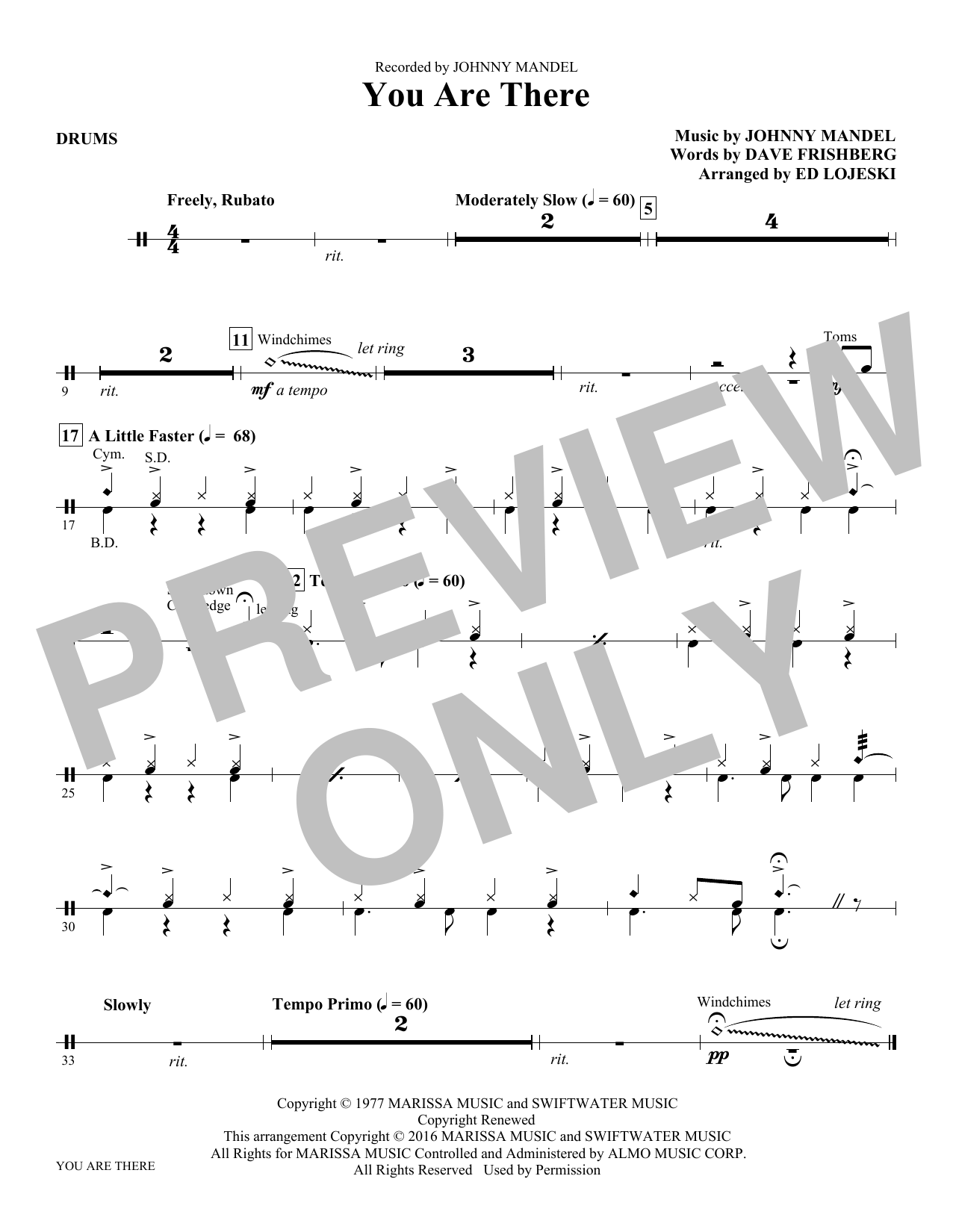 You Are There - Drums Sheet Music