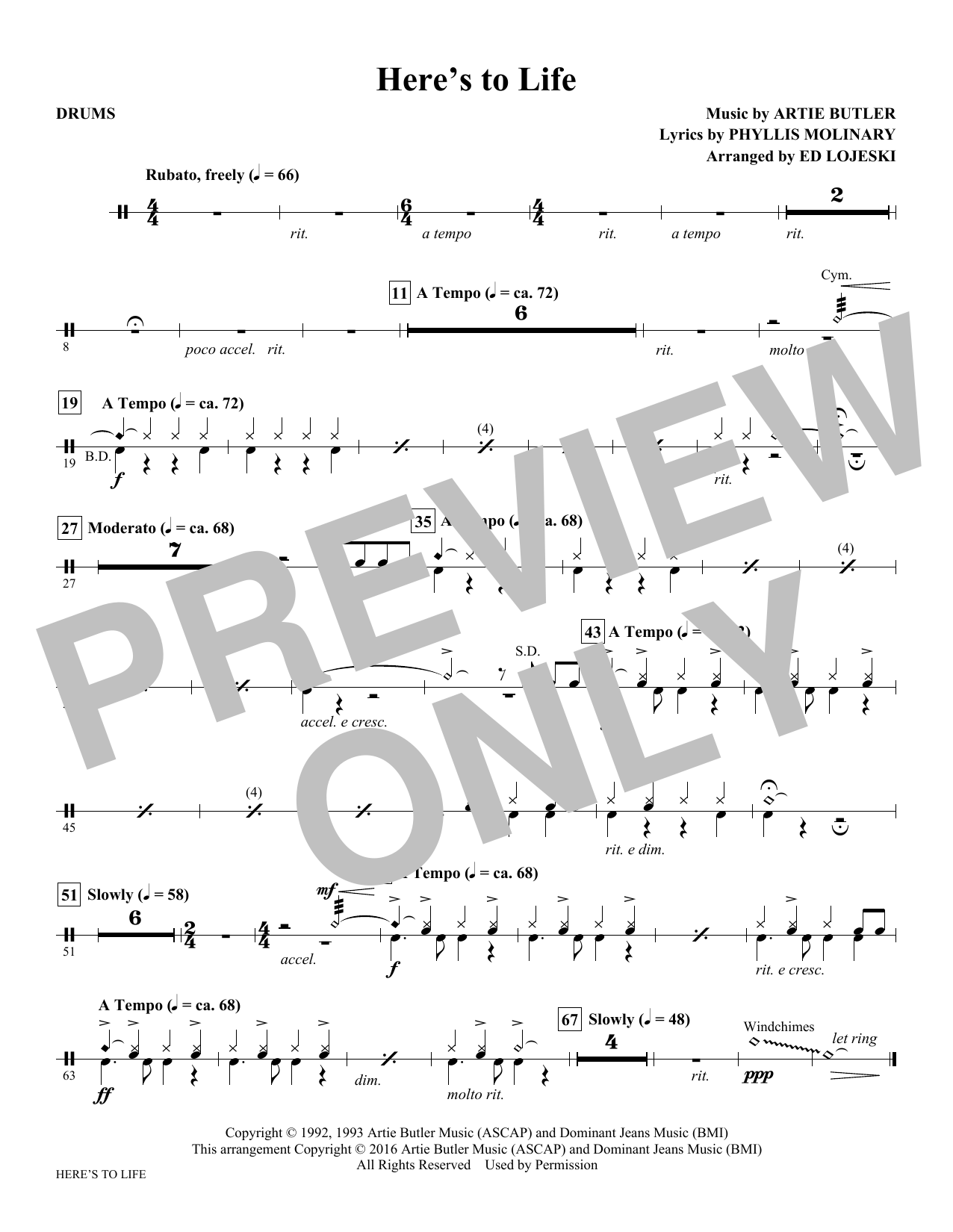 Here's to Life - Drums Sheet Music