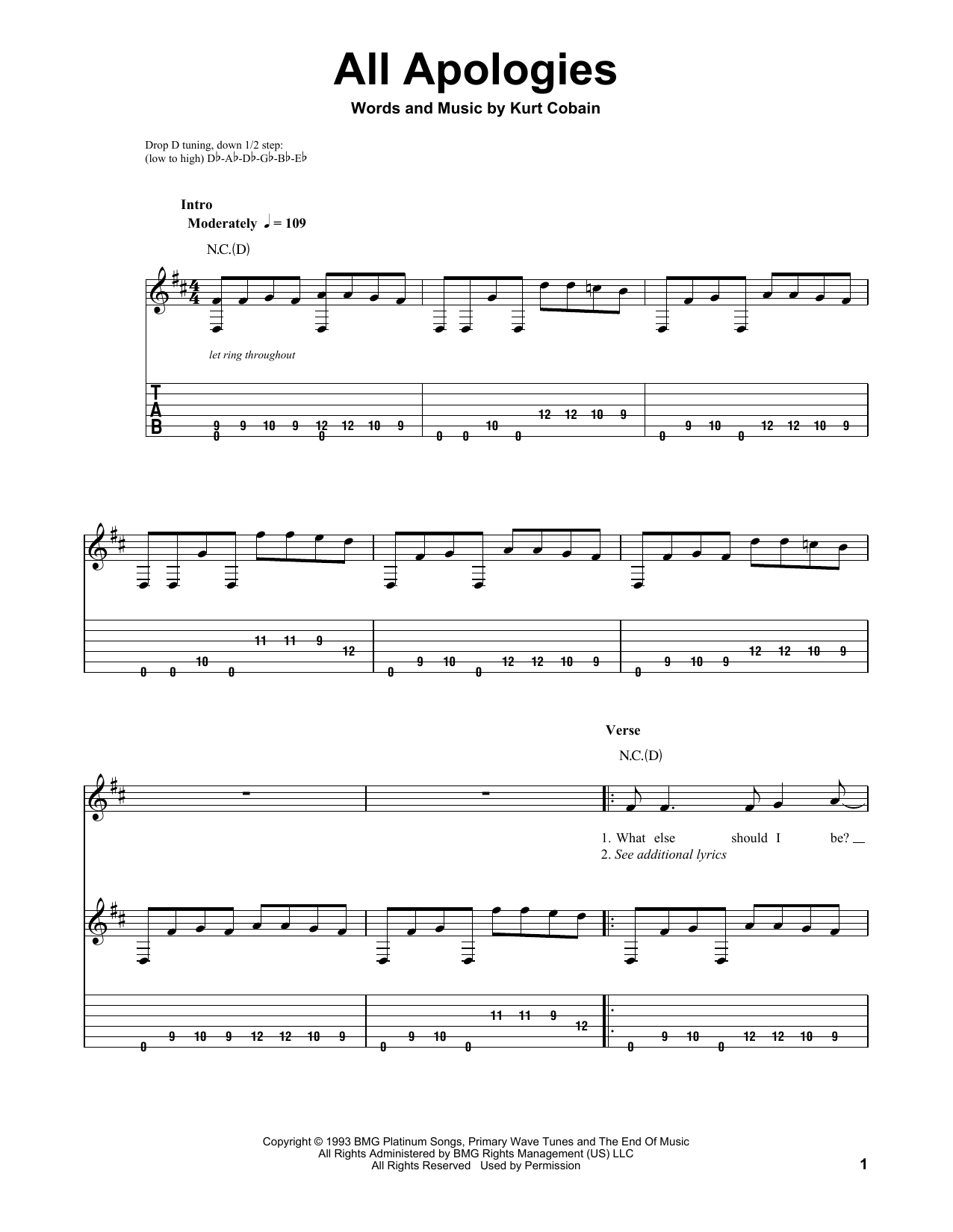 Tablature guitare All Apologies de Nirvana - Tablature guitare facile