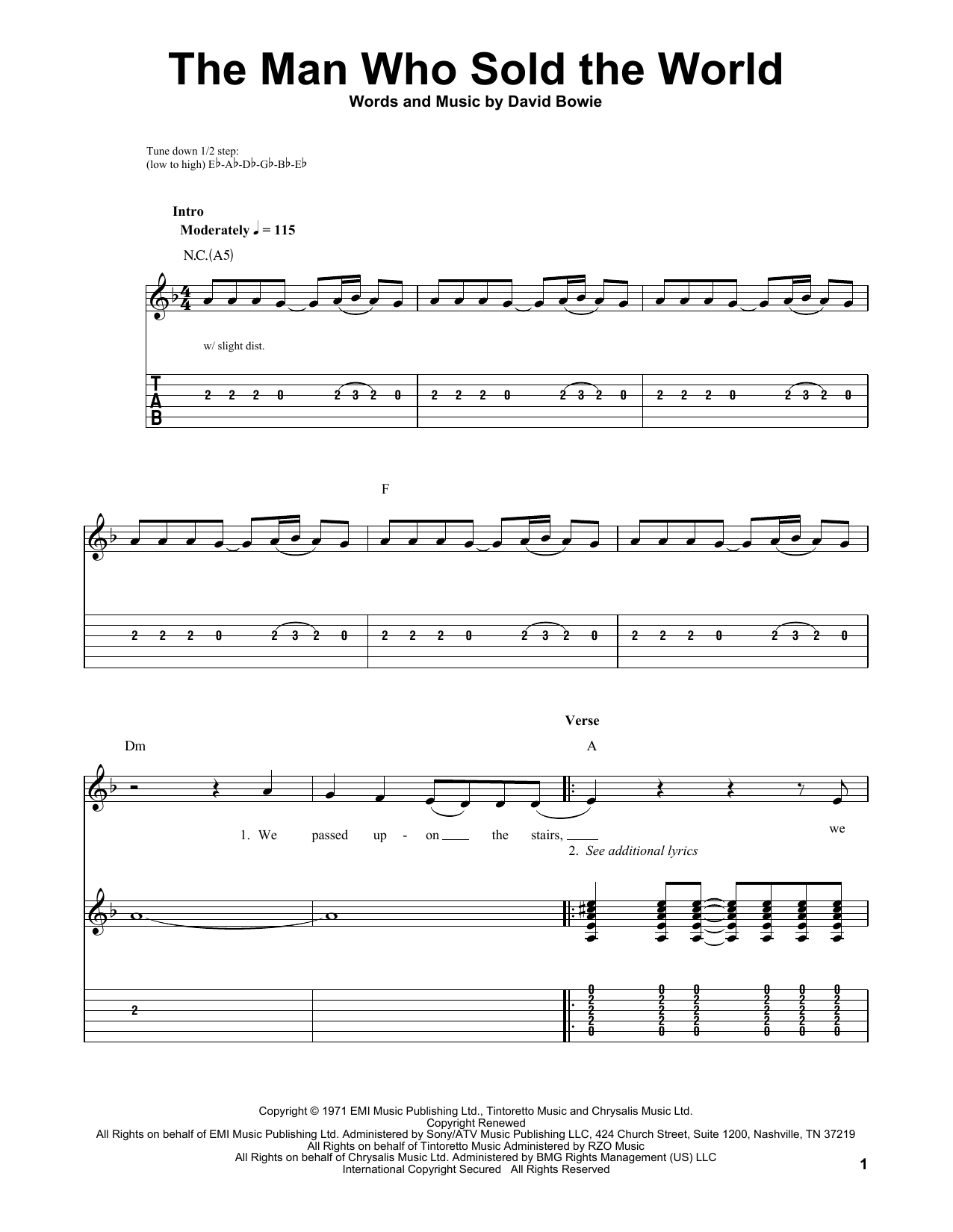 Tablature guitare The Man Who Sold The World de Nirvana - Tablature guitare facile