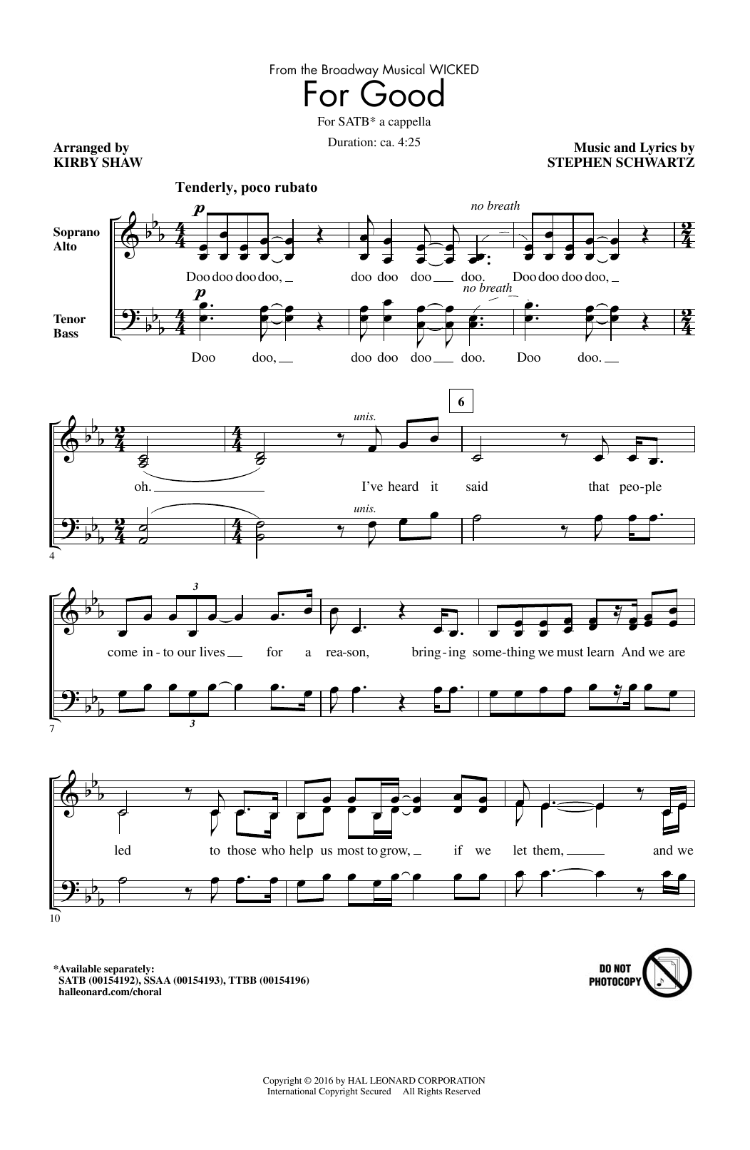 For Good (from Wicked) (arr. Kirby Shaw) (SATB Choir)