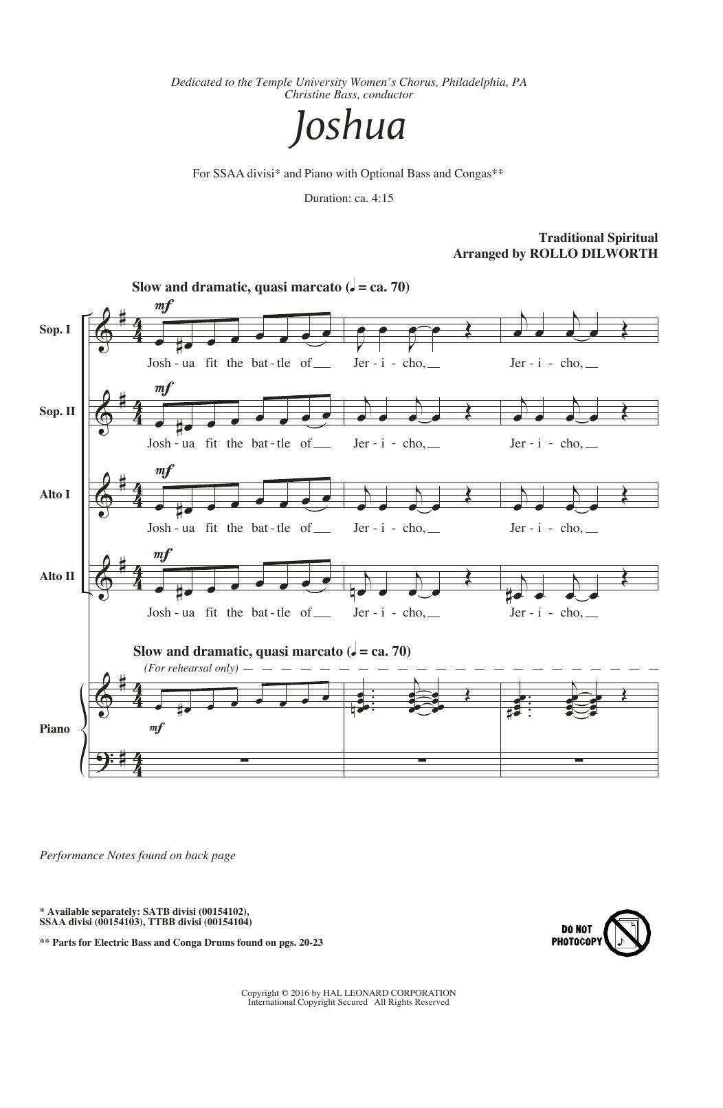 Joshua (Fit The Battle Of Jericho) (SSA Choir)