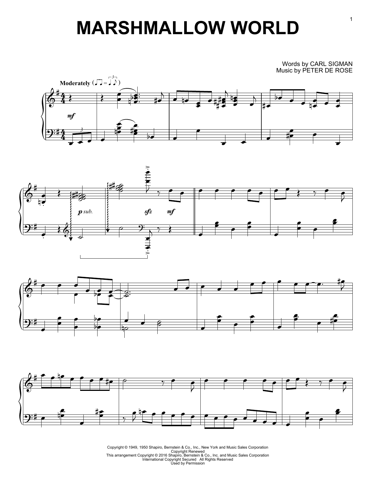 Partition piano A Marshmallow World de Carl Sigman - Piano Solo