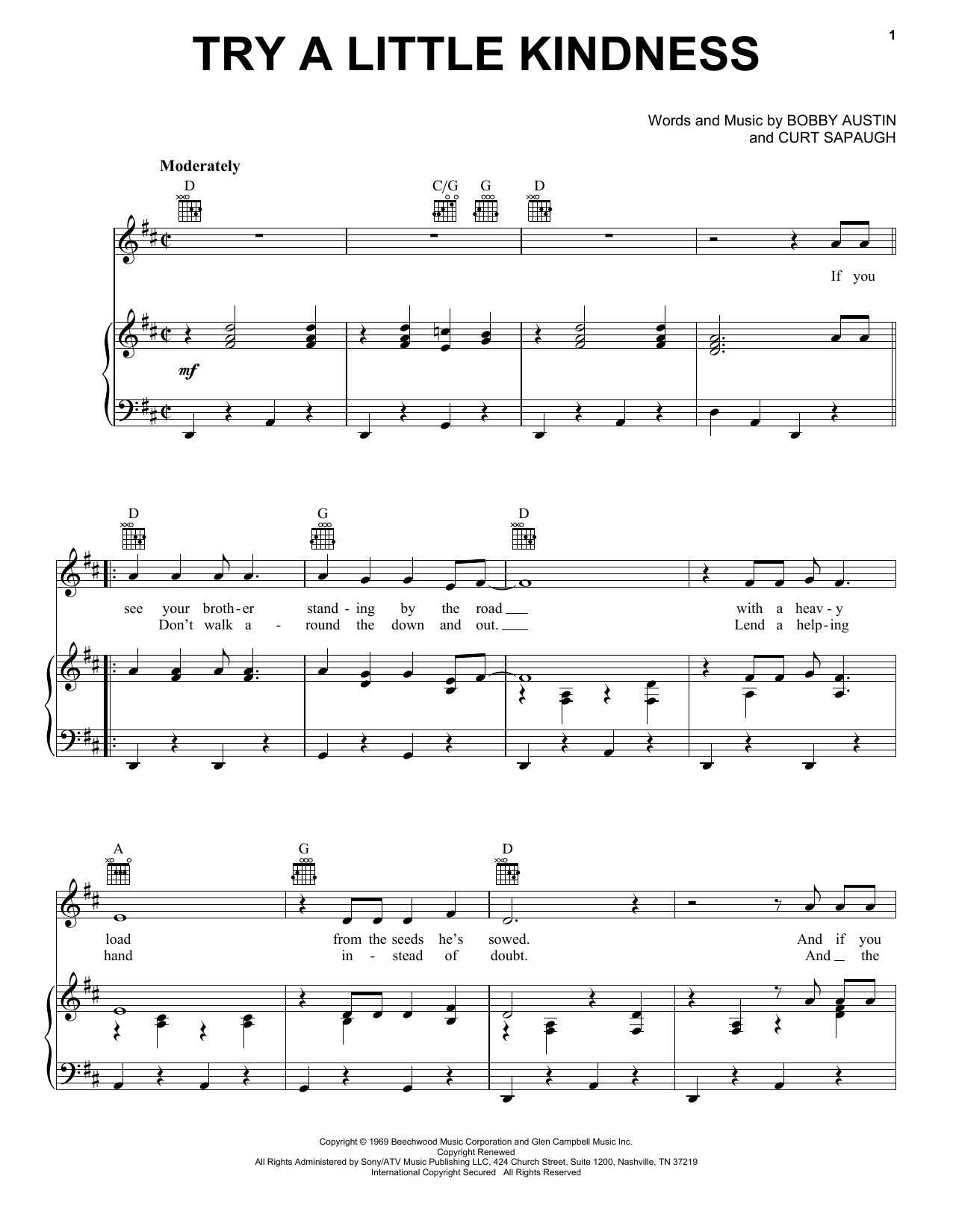 Try A Little Kindness (Piano, Vocal & Guitar (Right-Hand Melody))