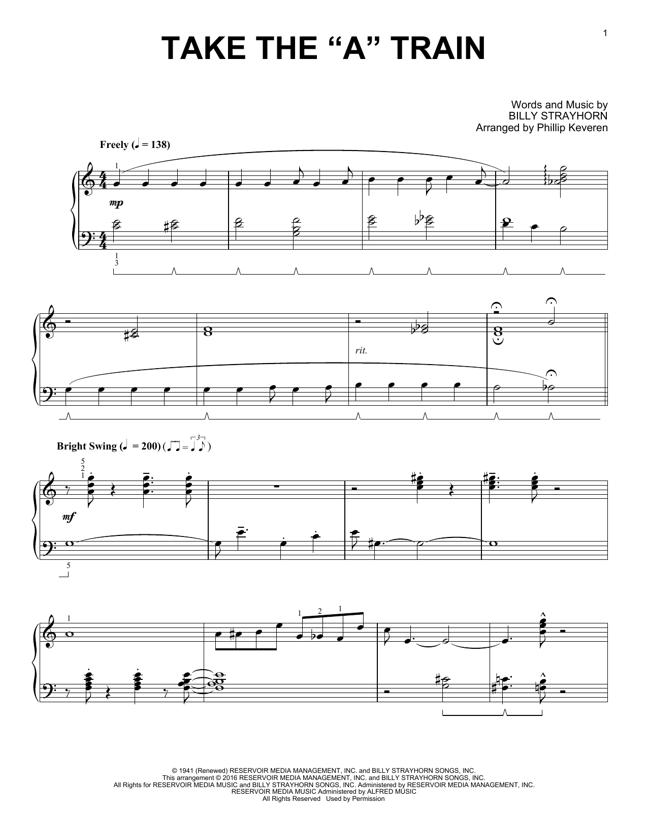 """Partition piano Take The """"A"""" Train de Phillip Keveren - Piano Solo"""