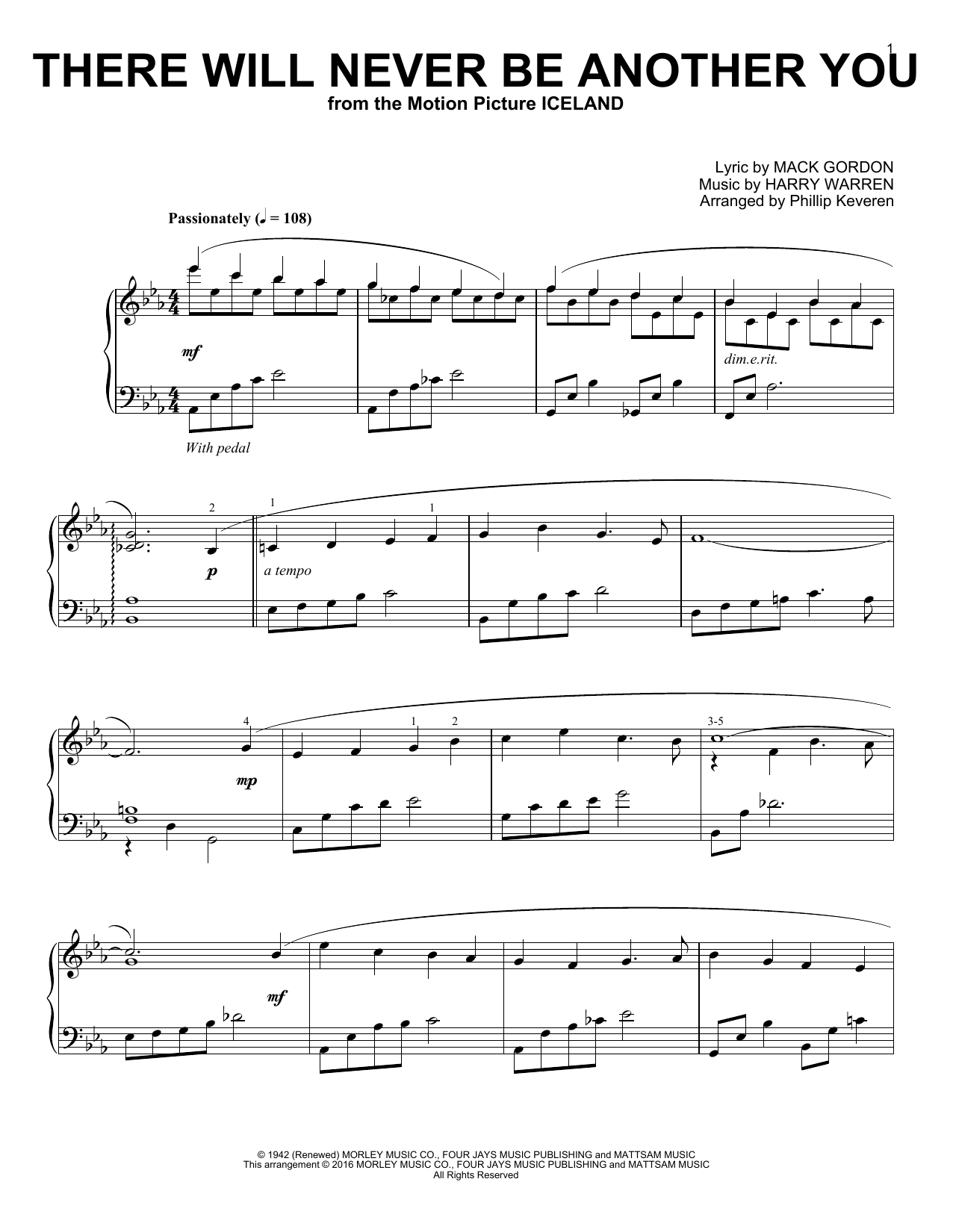Partition piano There Will Never Be Another You de Phillip Keveren - Piano Solo