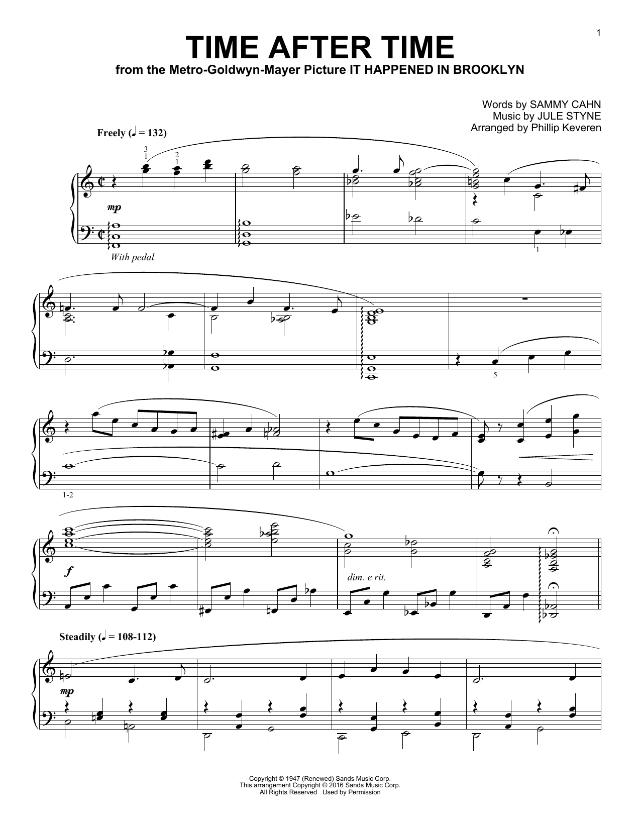 Time After Time Sheet Music