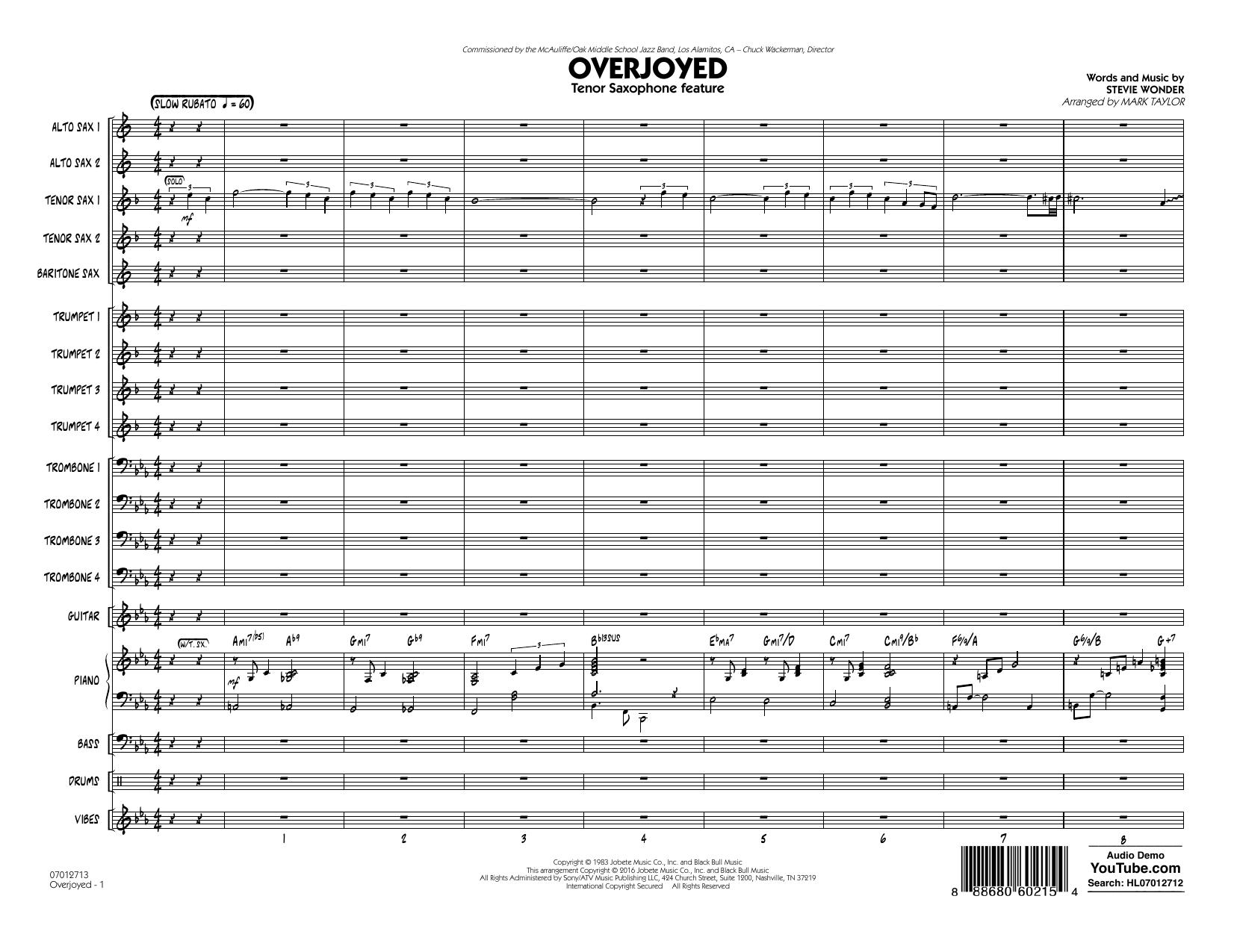 Overjoyed - Conductor Score (Full Score) (Jazz Ensemble)