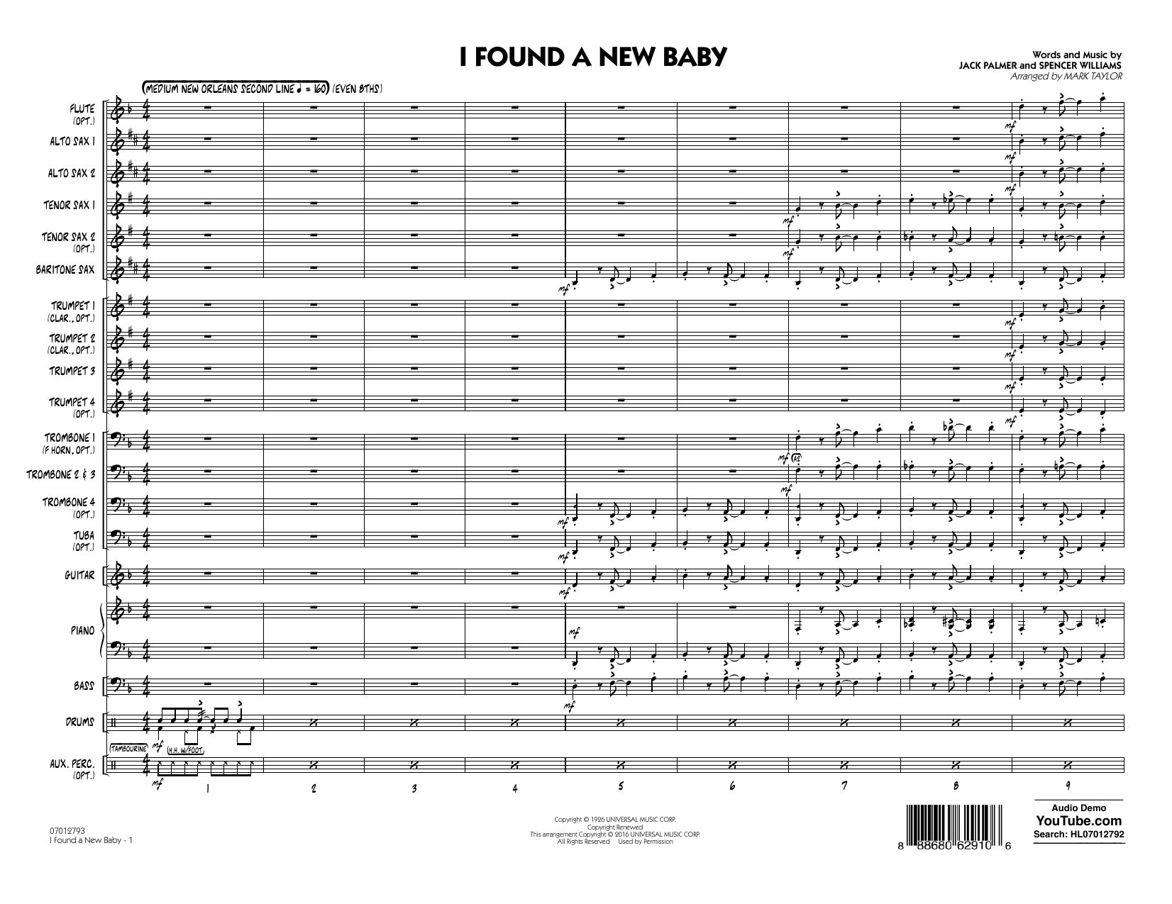 I Found a New Baby (COMPLETE) sheet music for jazz band by Ted Lewis and his band, Benny Goodman, Jack Palmer, Mark Taylor and Spencer Williams. Score Image Preview.