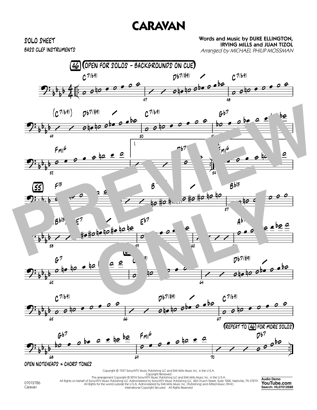 Caravan Bass Clef Solo Sheet Sheet Music To Download