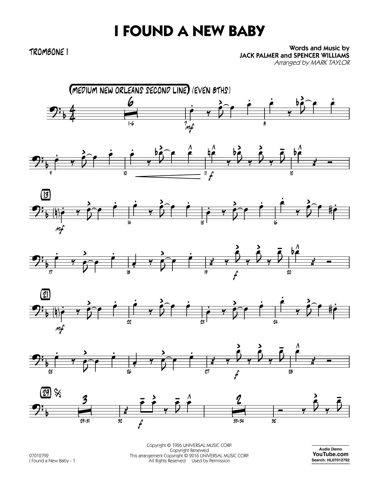 I Found a New Baby - Trombone 1 (Jazz Ensemble)