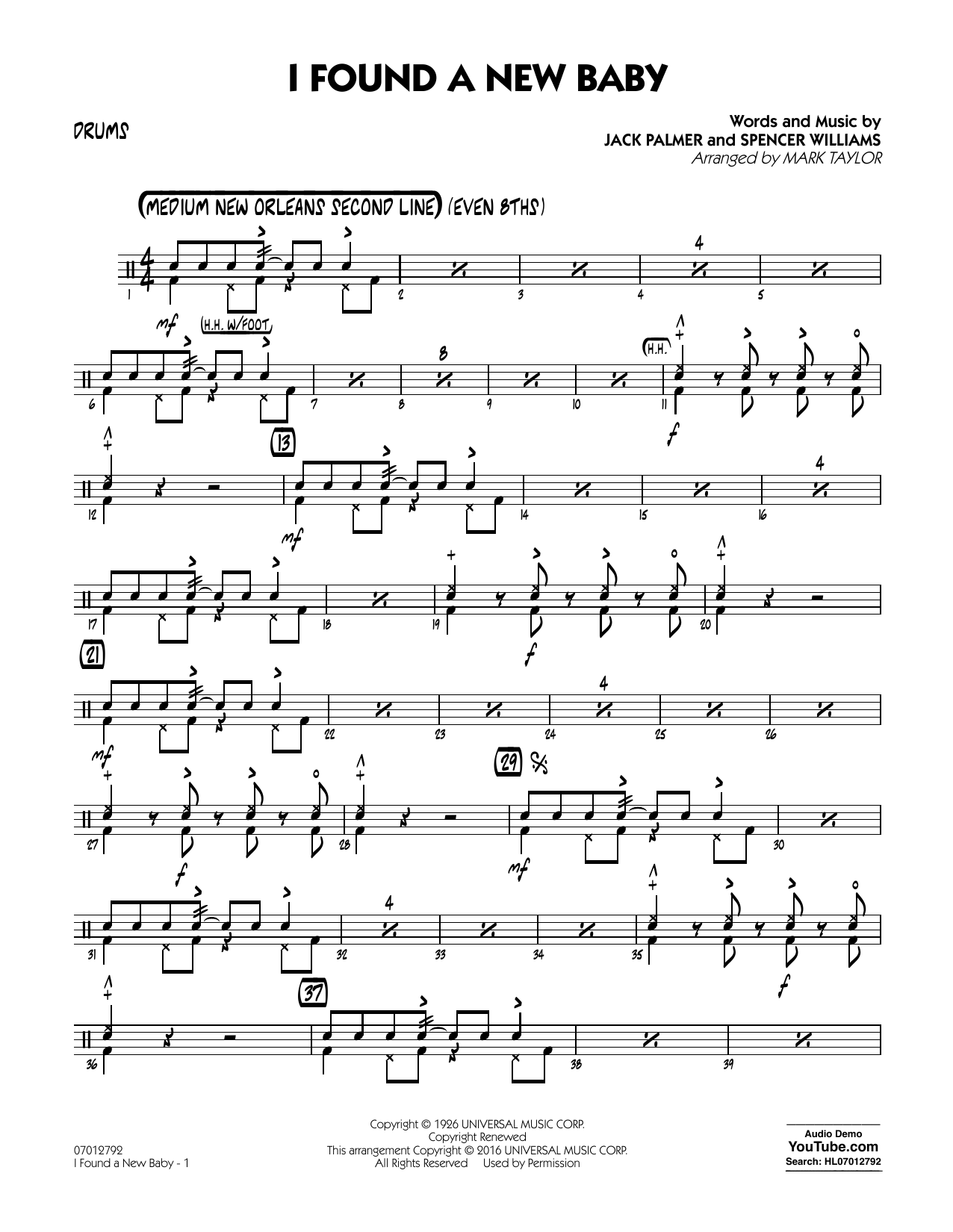 I Found a New Baby - Drums (Jazz Ensemble)