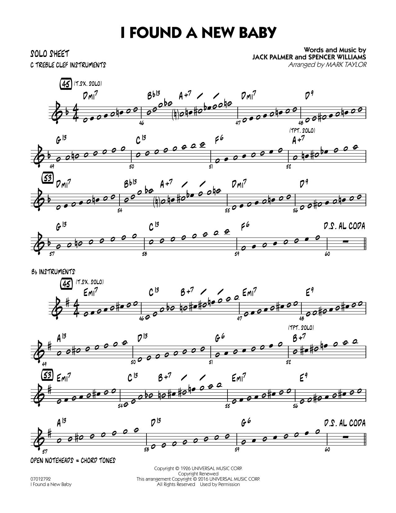 I Found a New Baby - Solo Sheet (Jazz Ensemble)