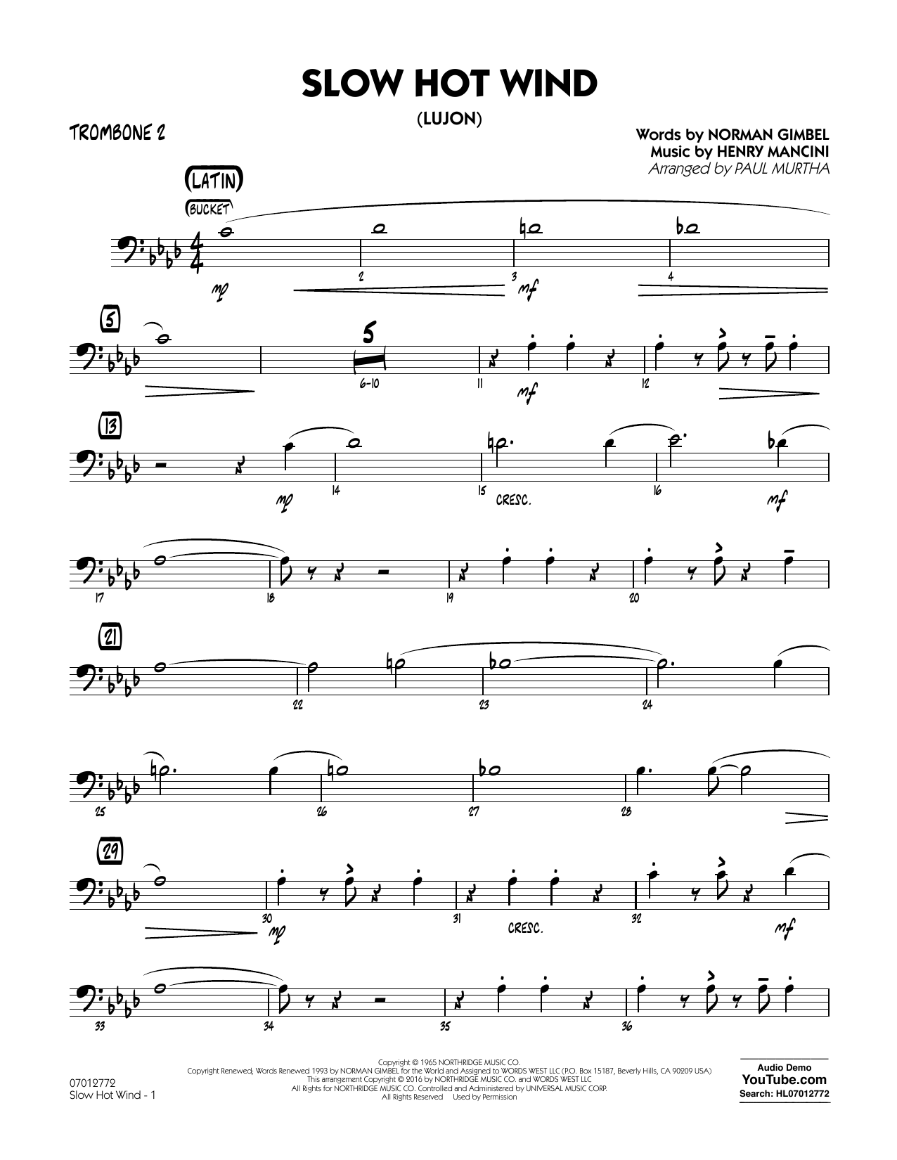 Slow Hot Wind (Lujon) - Trombone 2 (Jazz Ensemble)