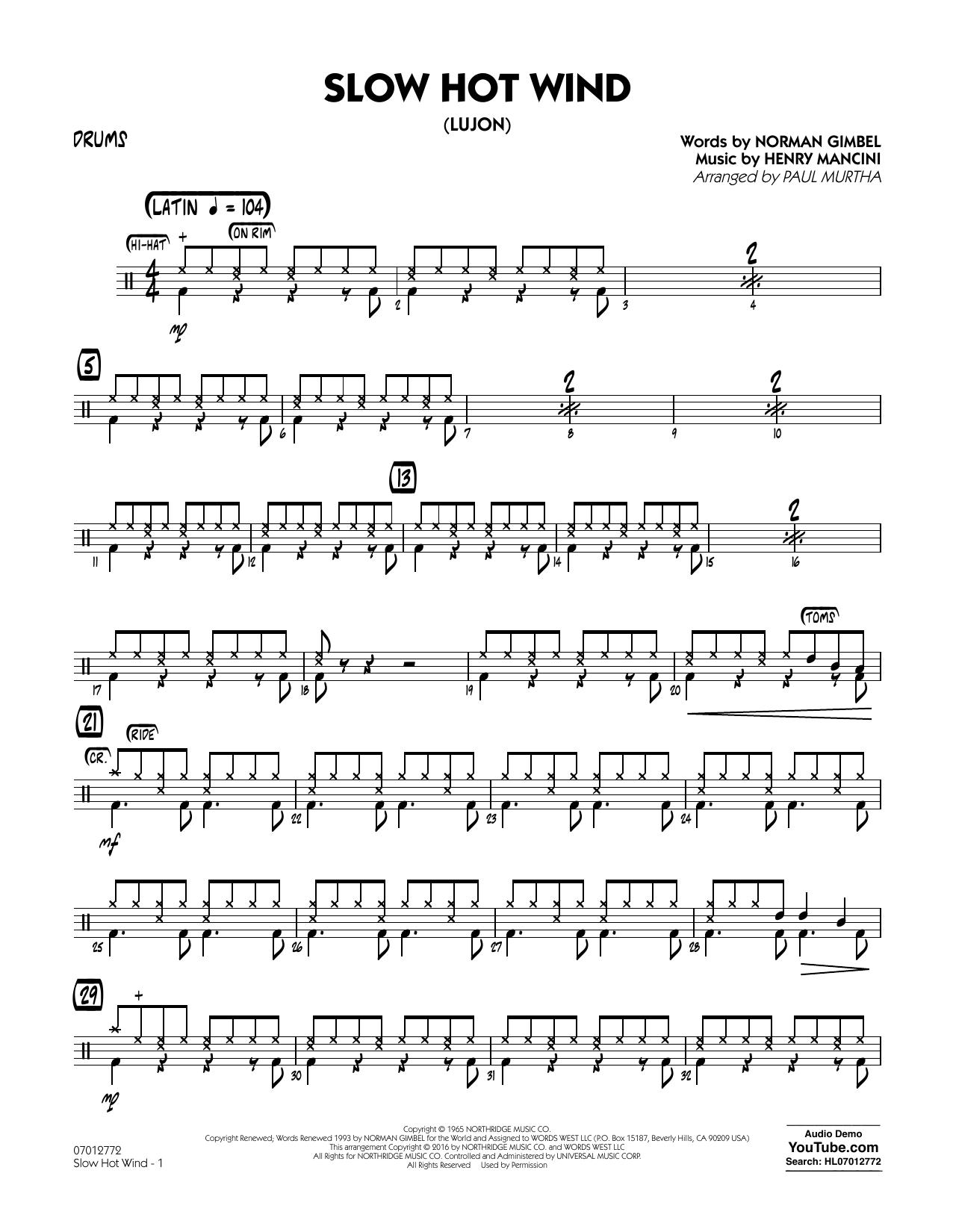 Slow Hot Wind (Lujon) - Drums (Jazz Ensemble)