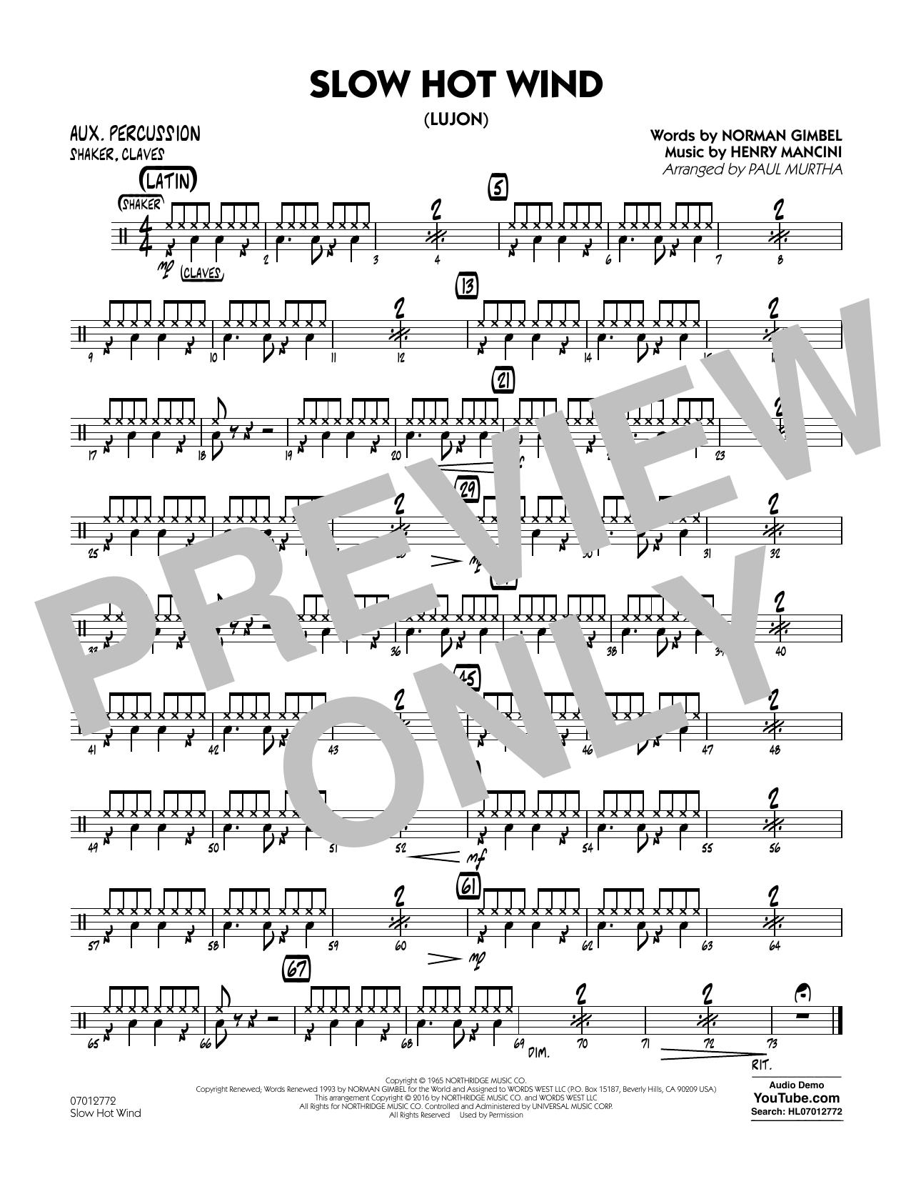 Slow Hot Wind (Lujon) - Aux Percussion (Jazz Ensemble)