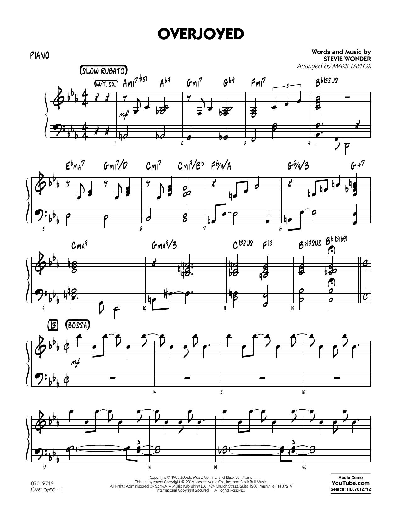 Overjoyed - Piano (Jazz Ensemble)