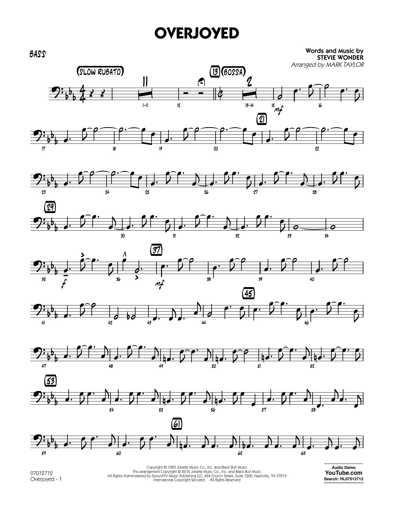 Overjoyed - Bass (Jazz Ensemble)